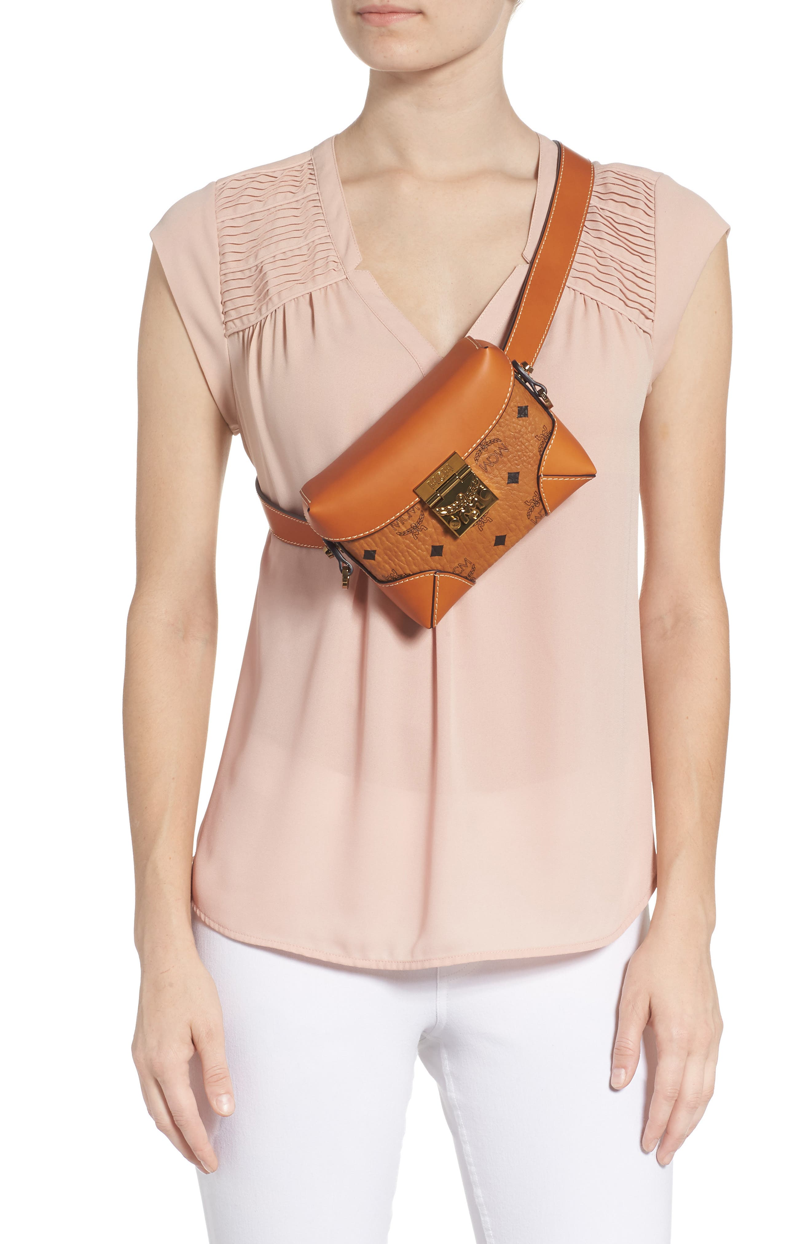 Small Berlin Canvas & Leather Belt Bag,                             Alternate thumbnail 4, color,                             200