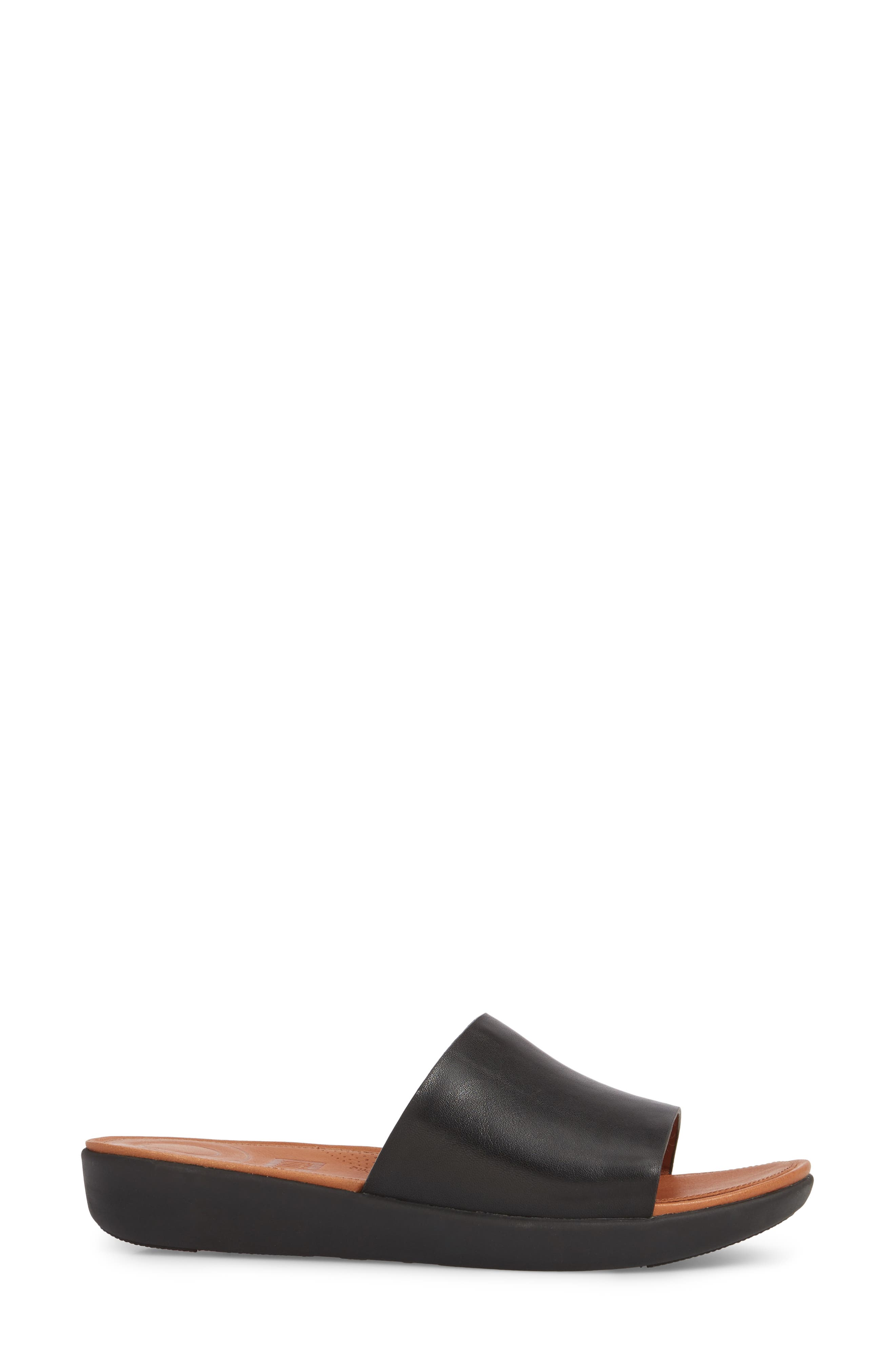 Sola Sandal,                             Alternate thumbnail 3, color,                             BLACK LEATHER