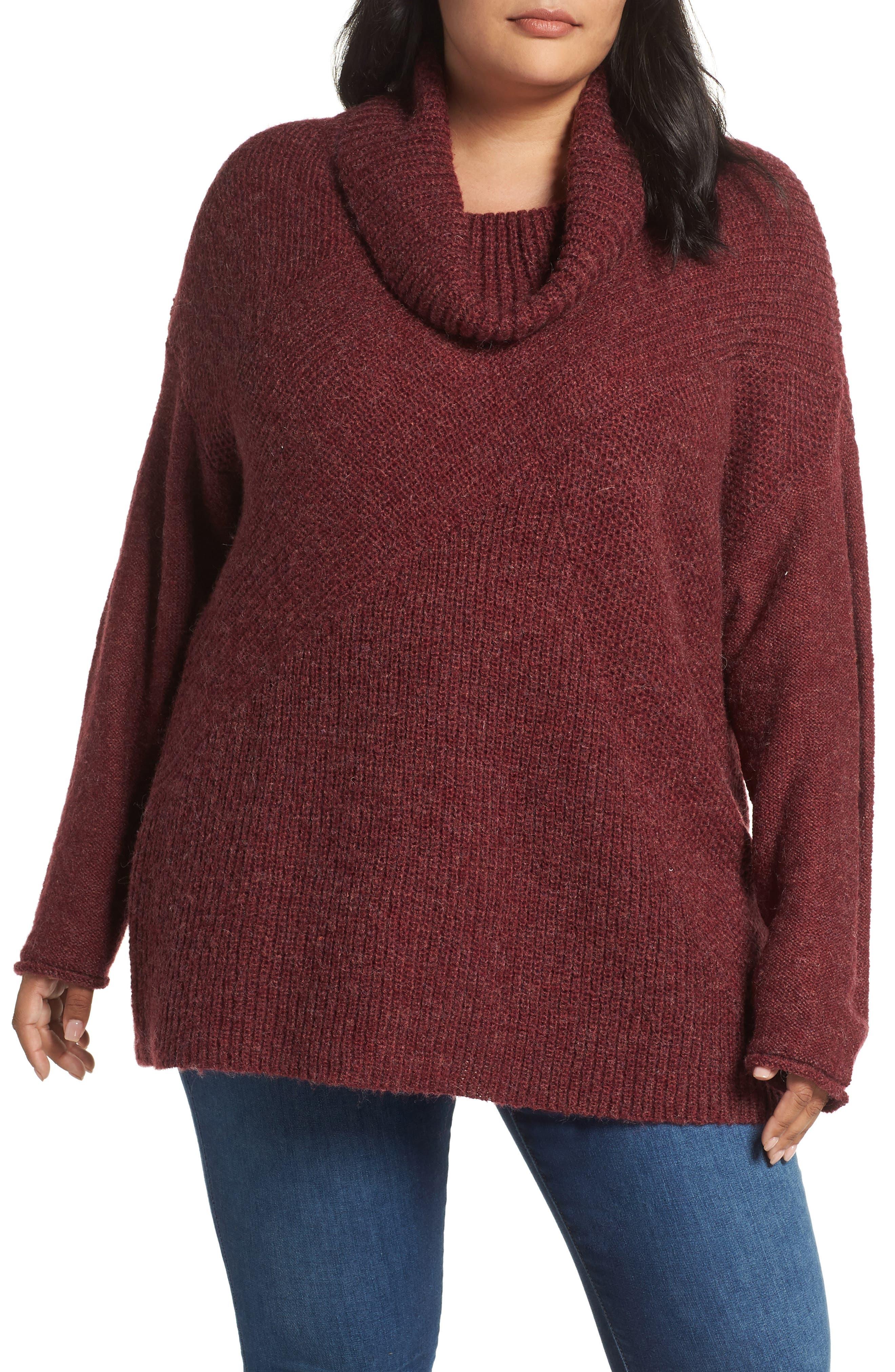 Plus Size Caslon Mix Stitch Wool Blend Funnel Neck Sweater, Burgundy