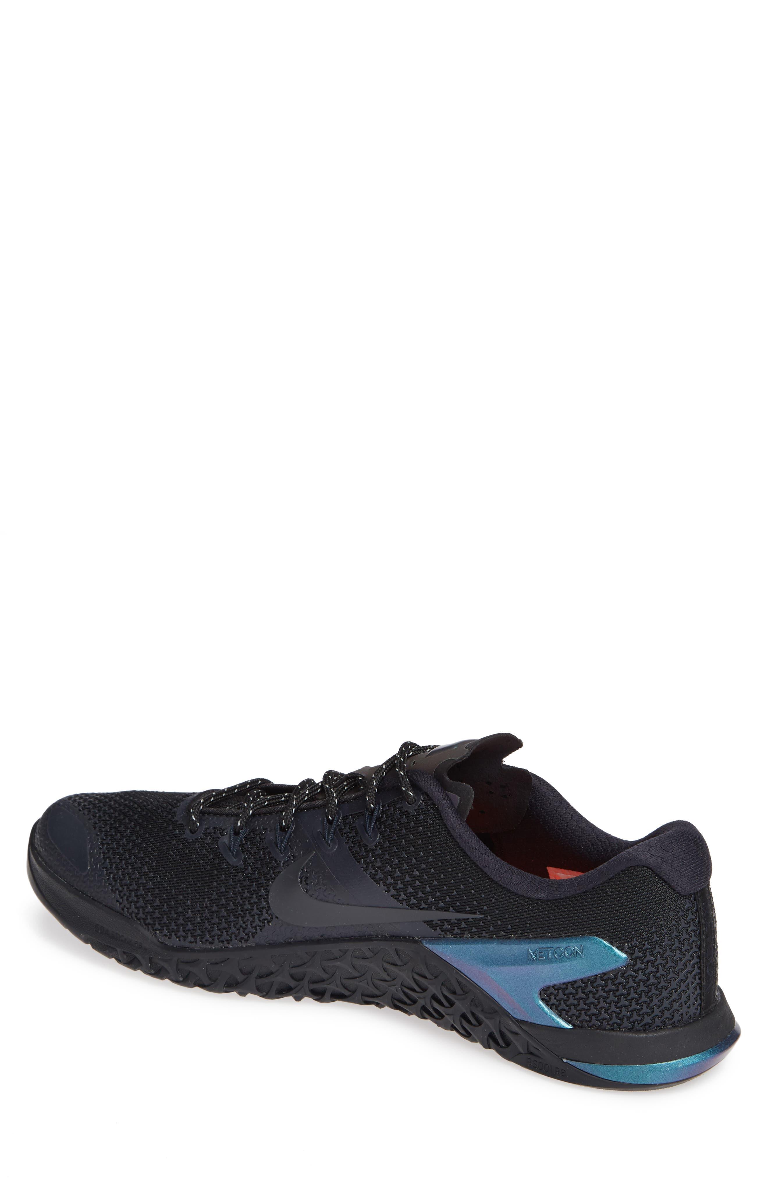 NIKE,                             Metcon 4 Prem Training Shoe,                             Alternate thumbnail 2, color,                             BLACK/ BLACK/ DARK OBSIDIAN