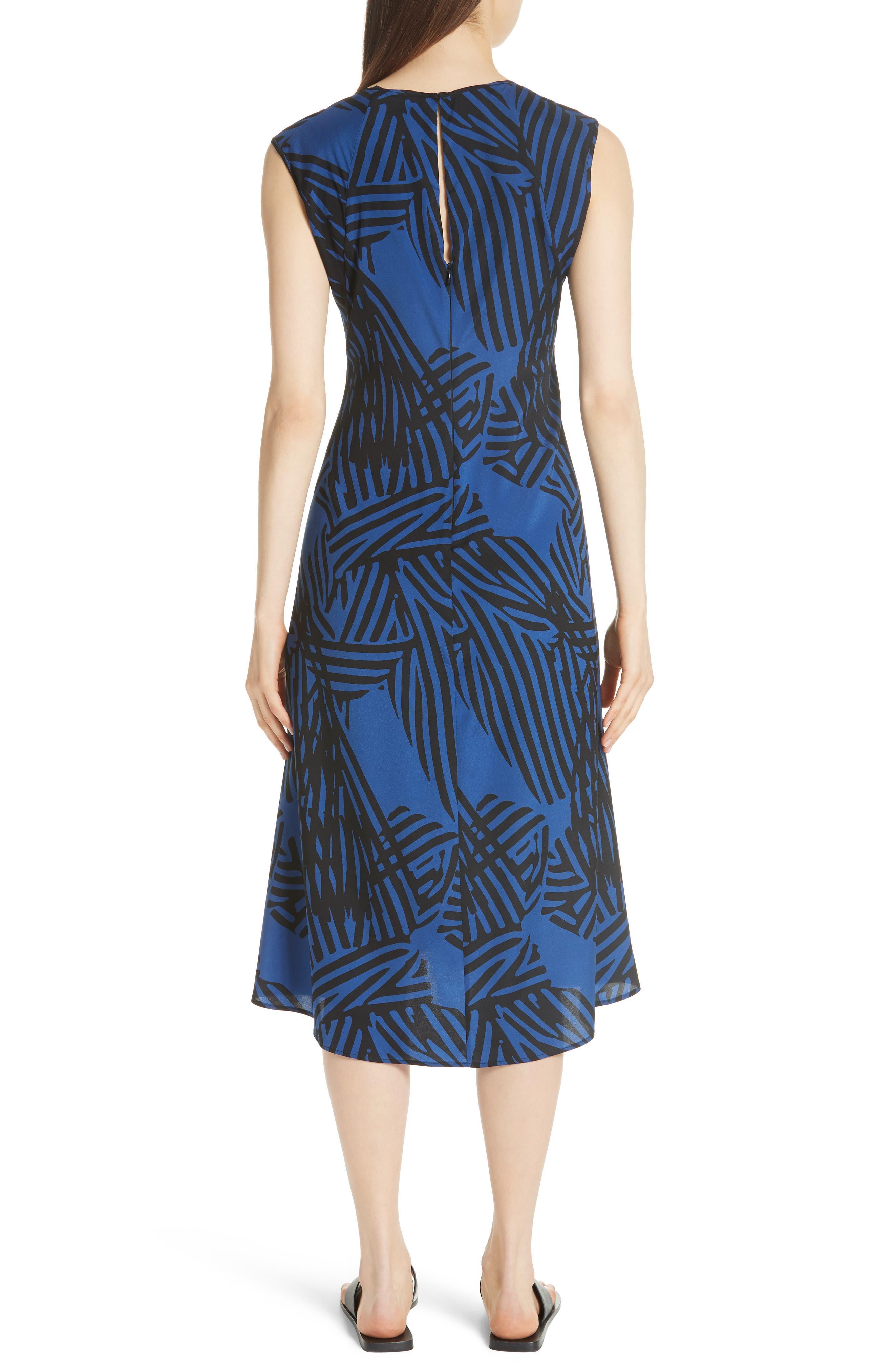 Ribbon Print Stretch Silk Dress,                             Alternate thumbnail 2, color,                             400