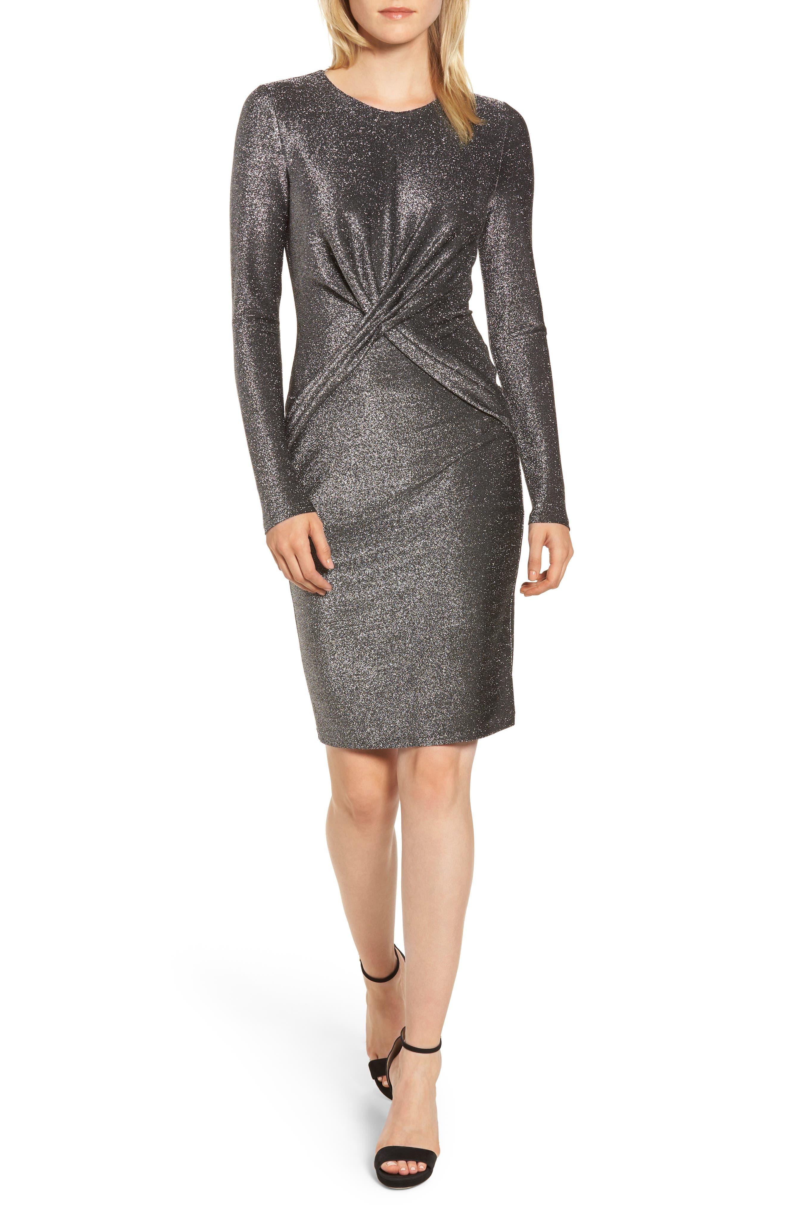 Twist Front Sheath Dress,                             Main thumbnail 1, color,                             BLACK/ SILVER
