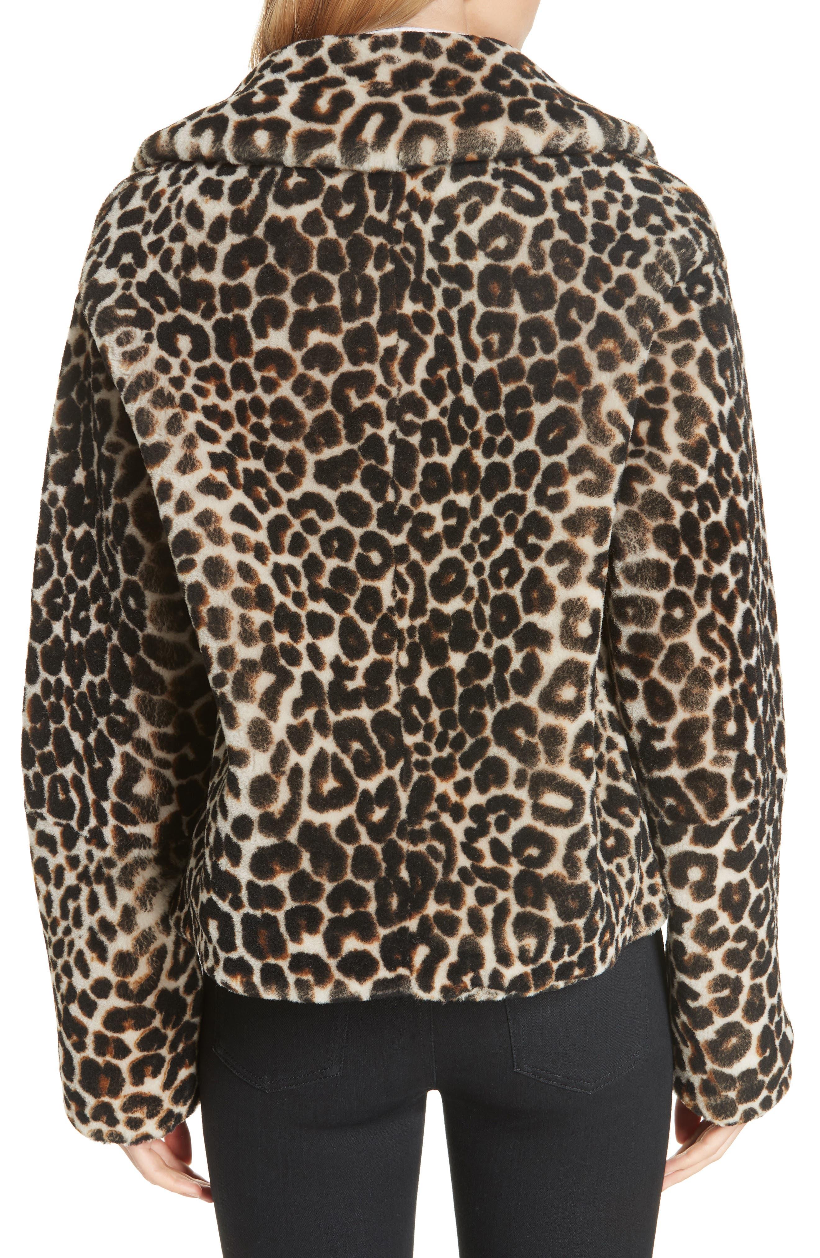A.L.C.,                             Grant Leopard Print Genuine Shearling Jacket,                             Alternate thumbnail 2, color,                             900