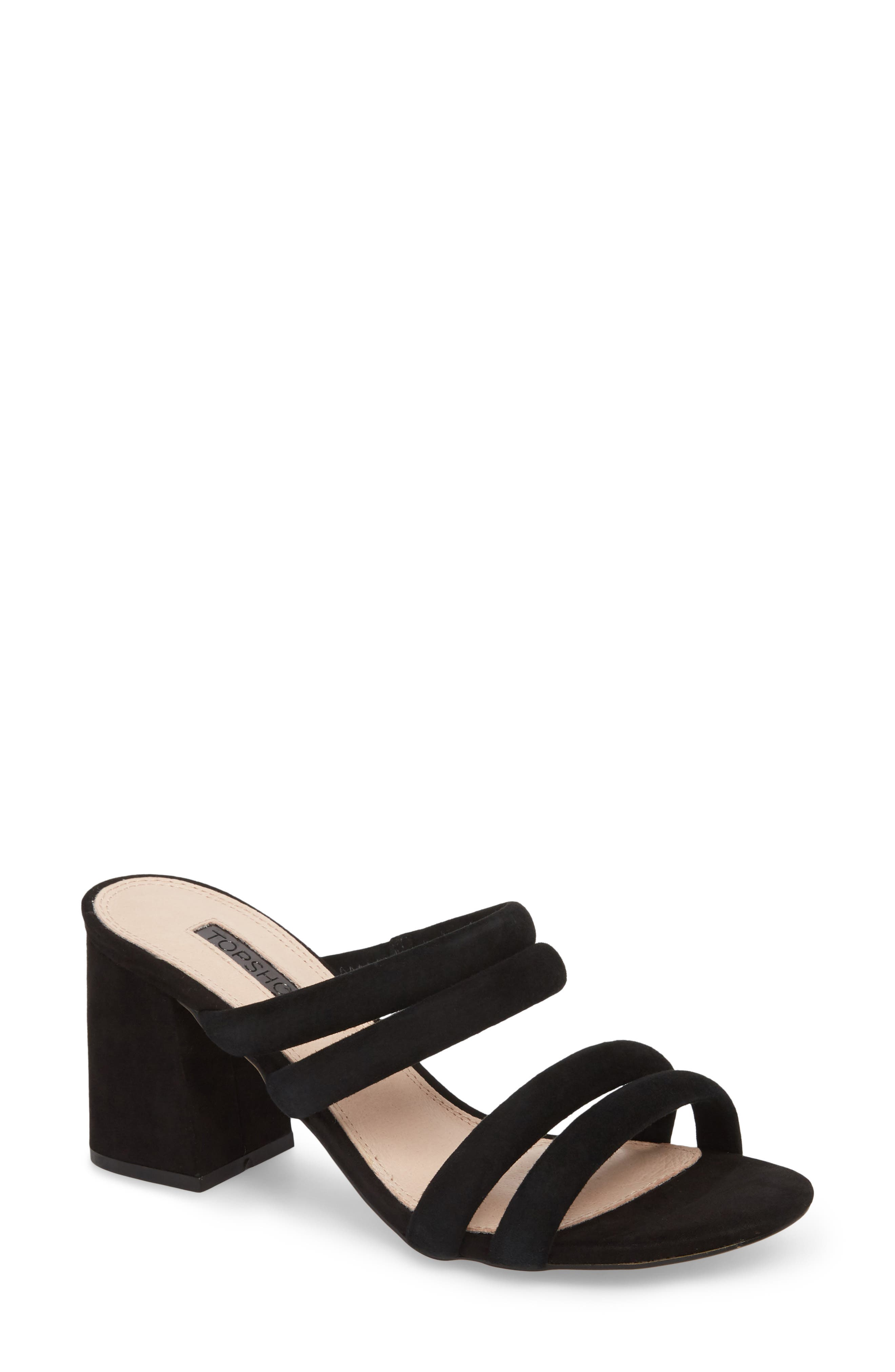 Nicky Four Strap Slide,                             Main thumbnail 1, color,                             BLACK