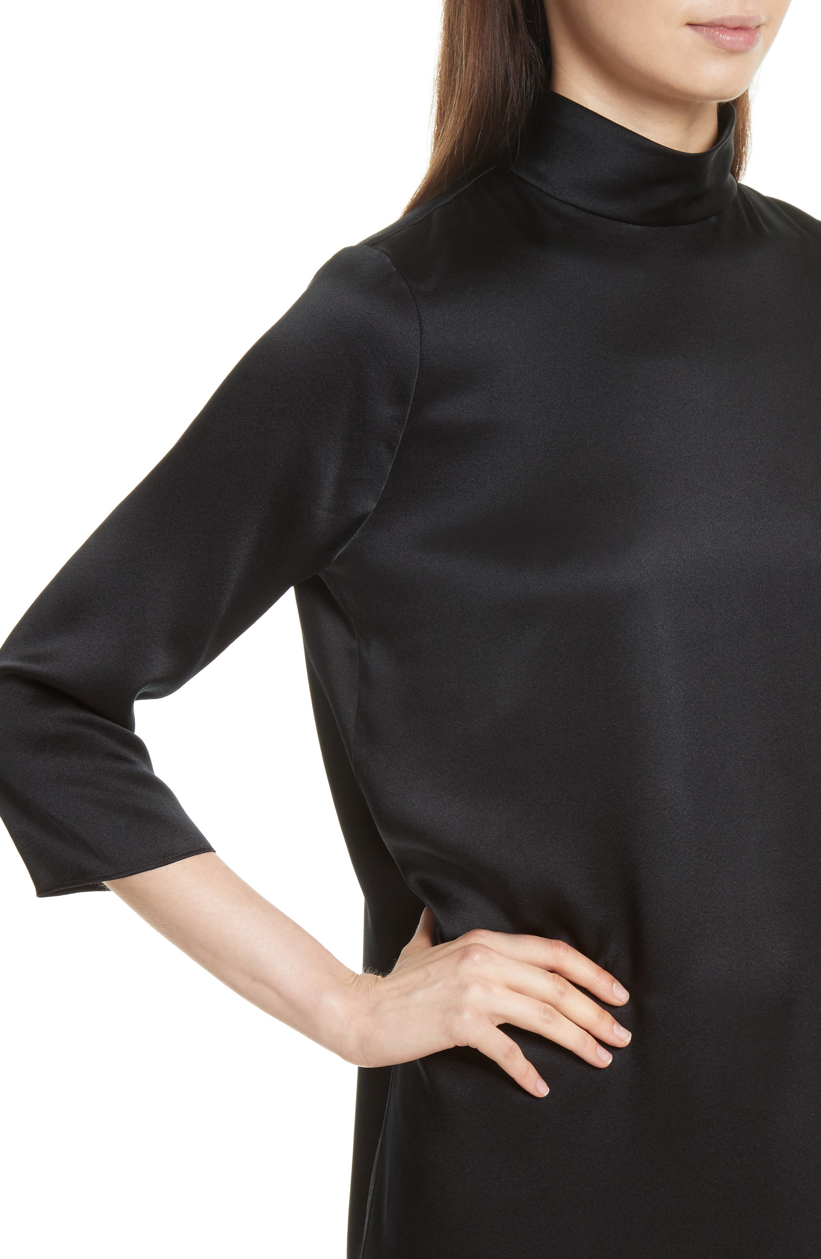 Mock Neck Silk Shift Dress,                             Alternate thumbnail 4, color,                             001