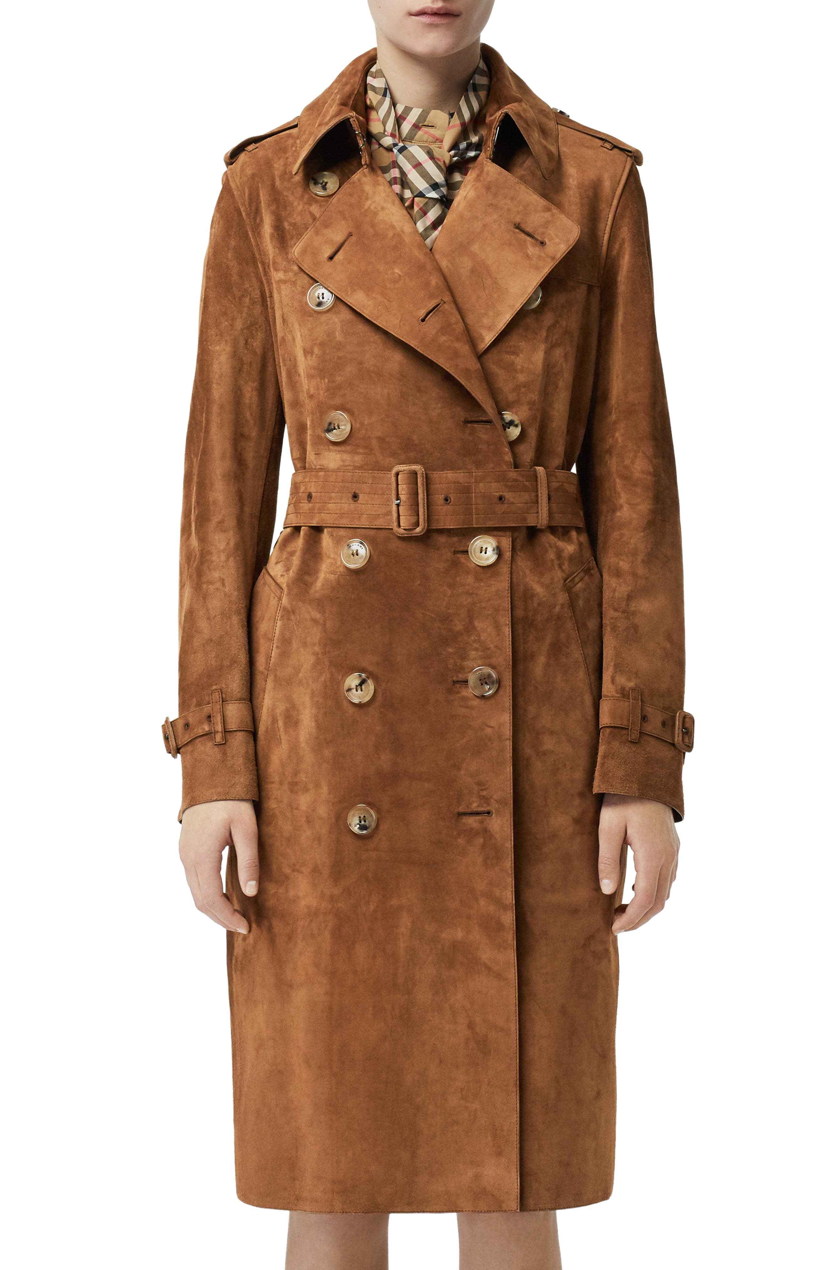 BURBERRY,                             Haddington Suede Trench Coat,                             Main thumbnail 1, color,                             SEPIA BROWN