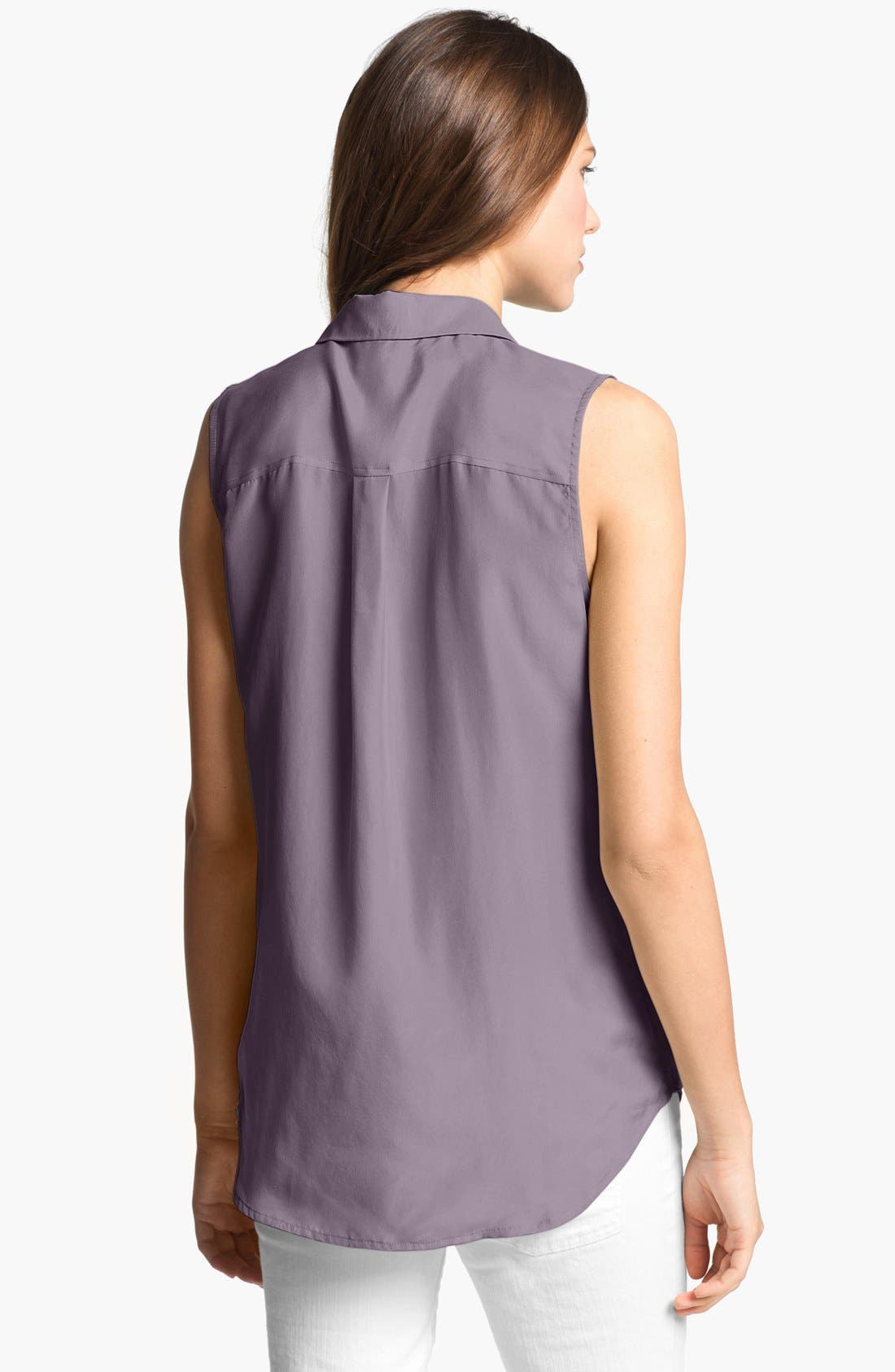 'Slim Signature' Sleeveless Silk Shirt,                             Alternate thumbnail 56, color,
