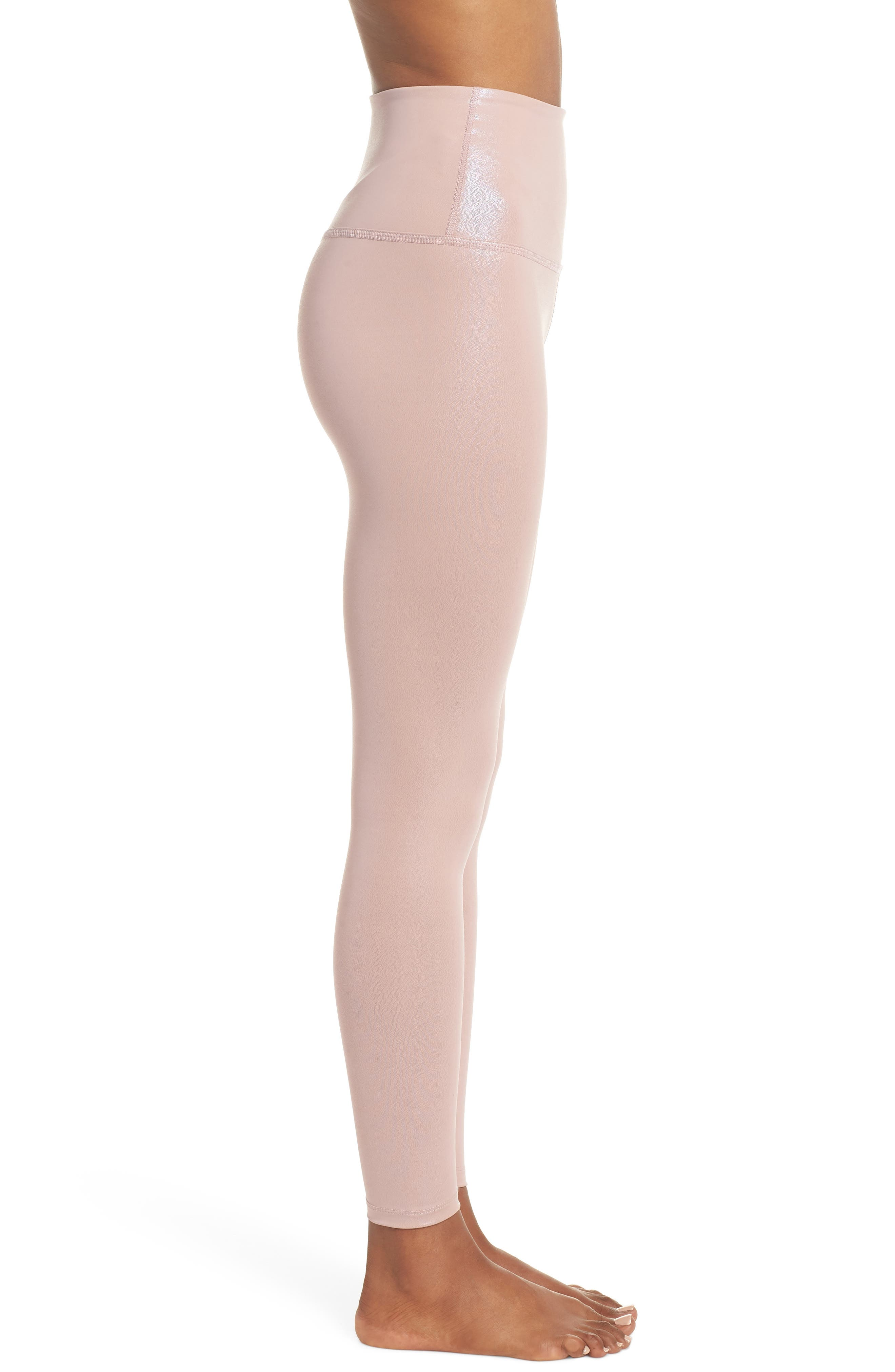Pearlized High Waist Ankle Leggings,                             Alternate thumbnail 3, color,                             BRAZEN BLUSH