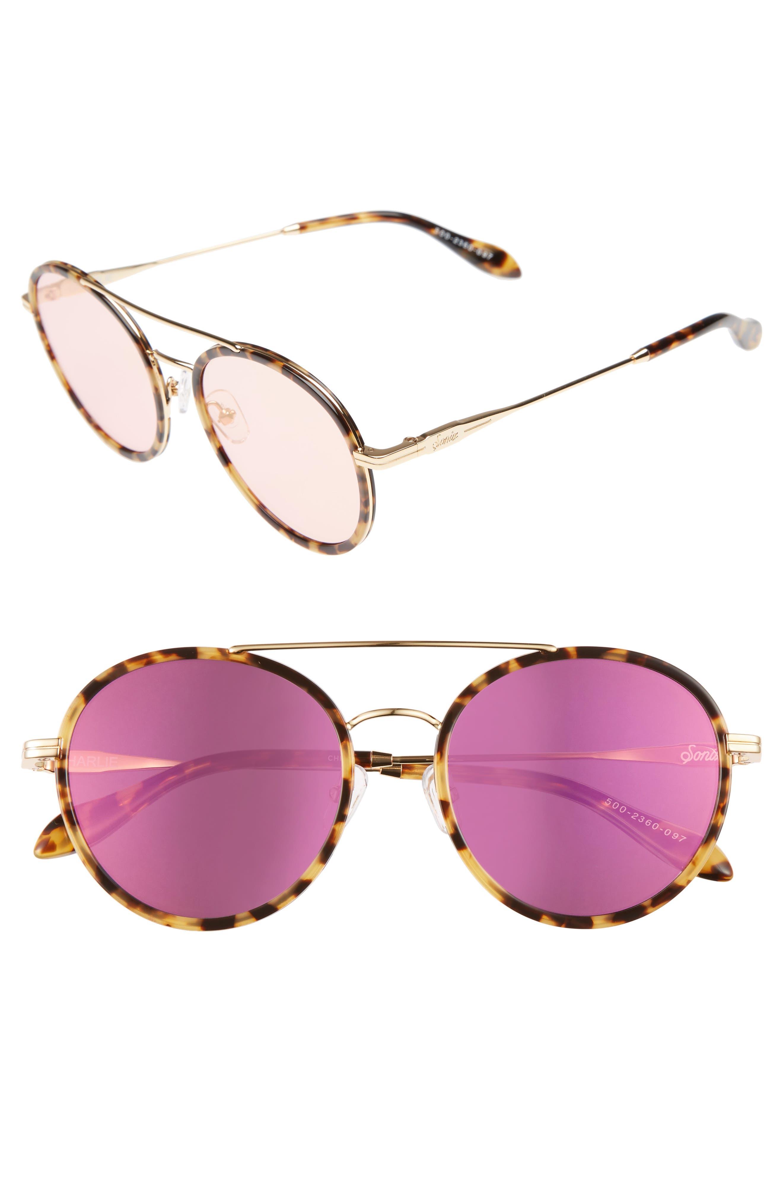 Charli 50mm Mirrored Lens Round Sunglasses,                             Main thumbnail 4, color,
