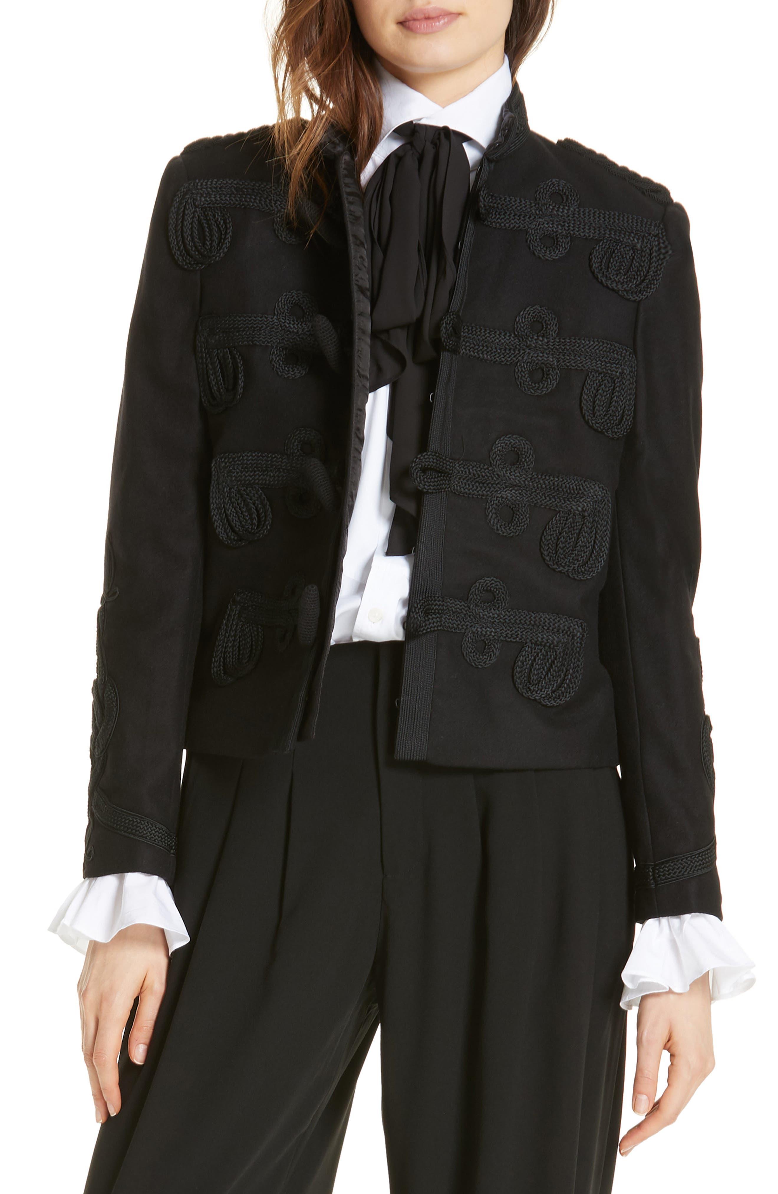 Soutache Trim Crop Jacket,                         Main,                         color, POLO BLACK