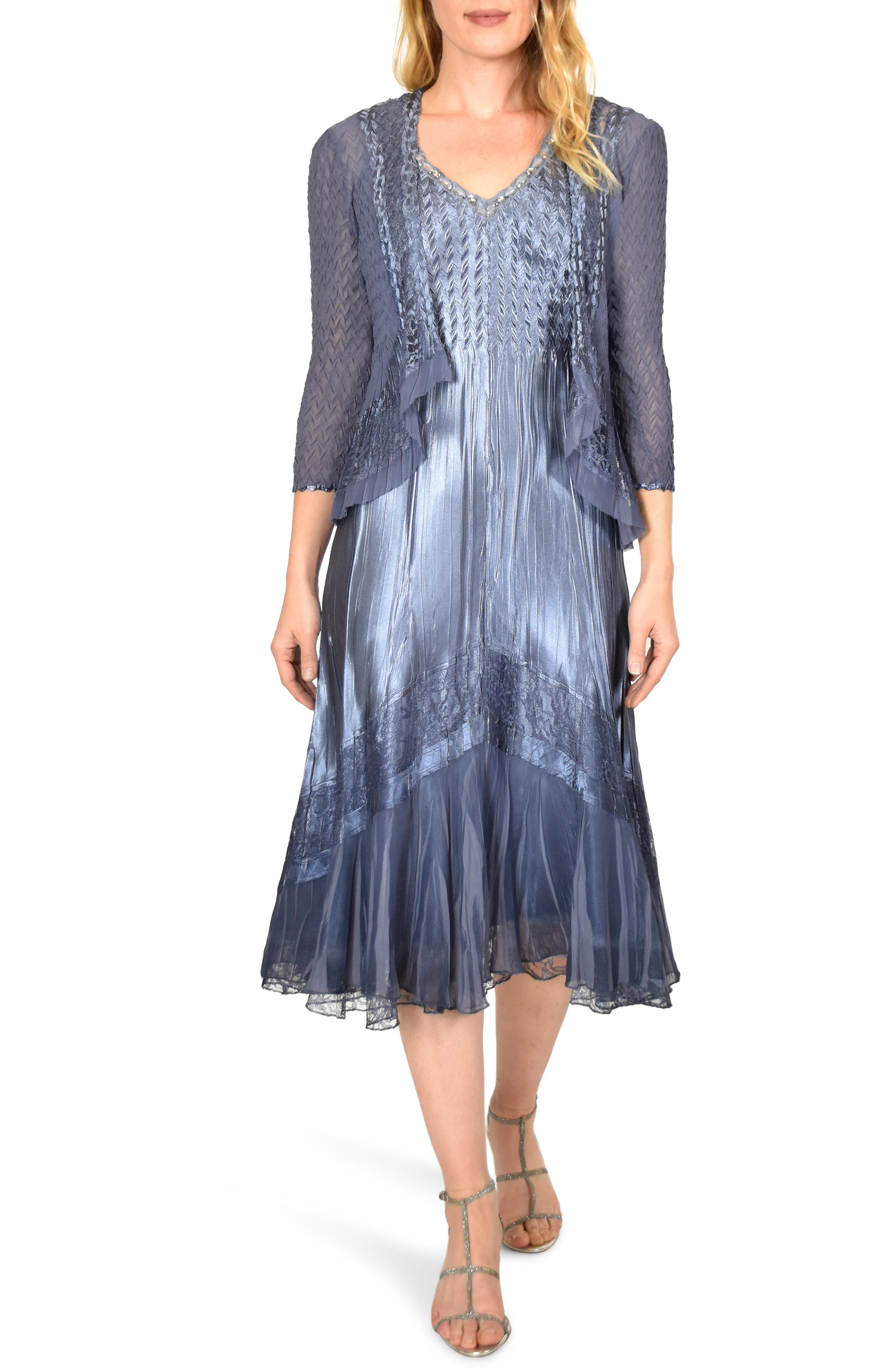 Petite Komarov Embellished Charmeuse Dress & Chiffon Jacket, Purple