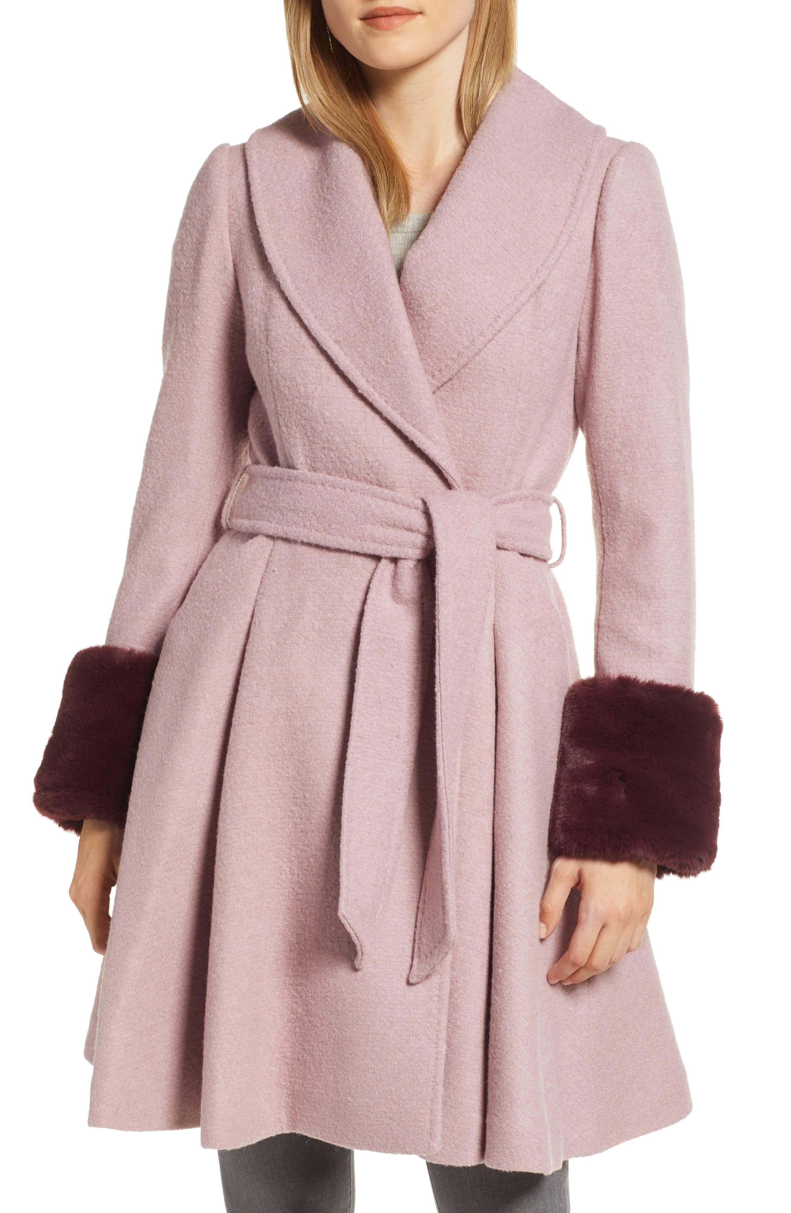 Faux Fur Cuff Skirted Coat,                             Main thumbnail 1, color,                             MID PINK