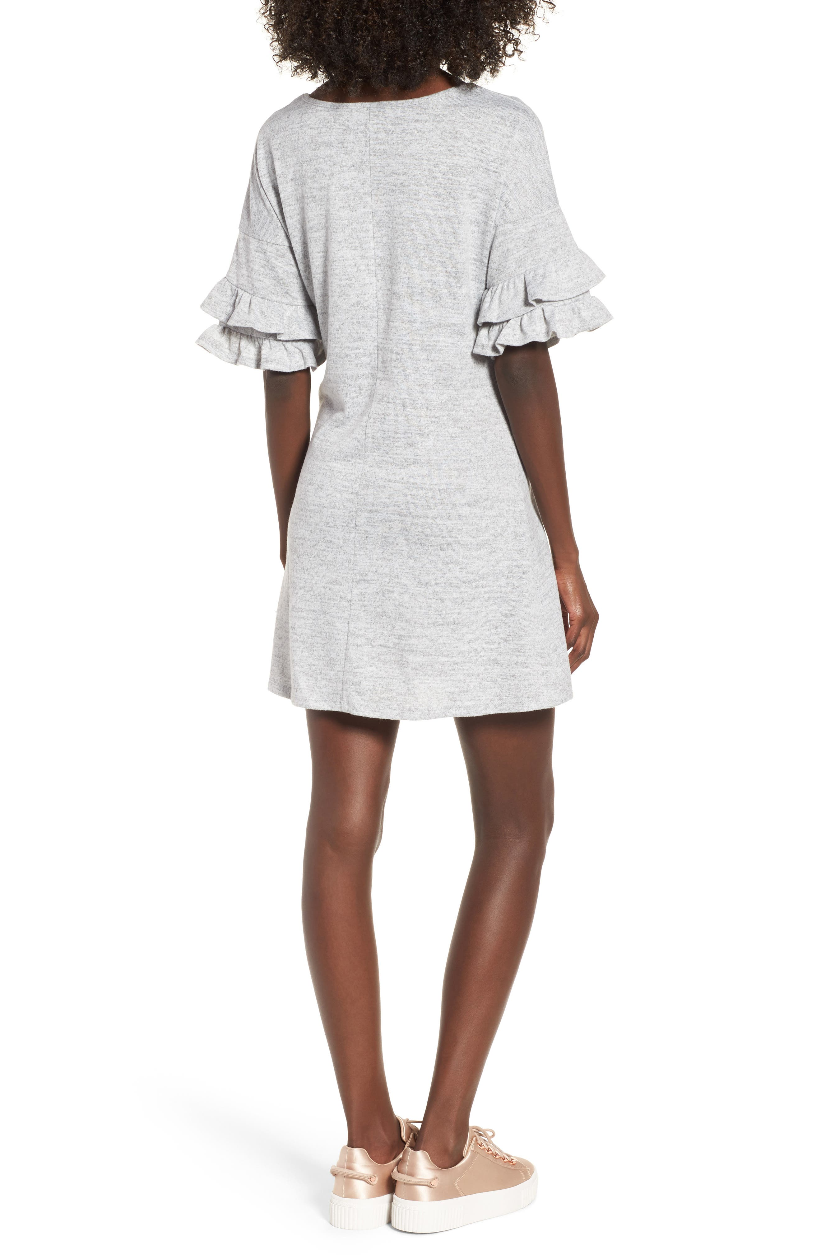 Ruffle Sleeve Sweatshirt Dress,                             Alternate thumbnail 2, color,