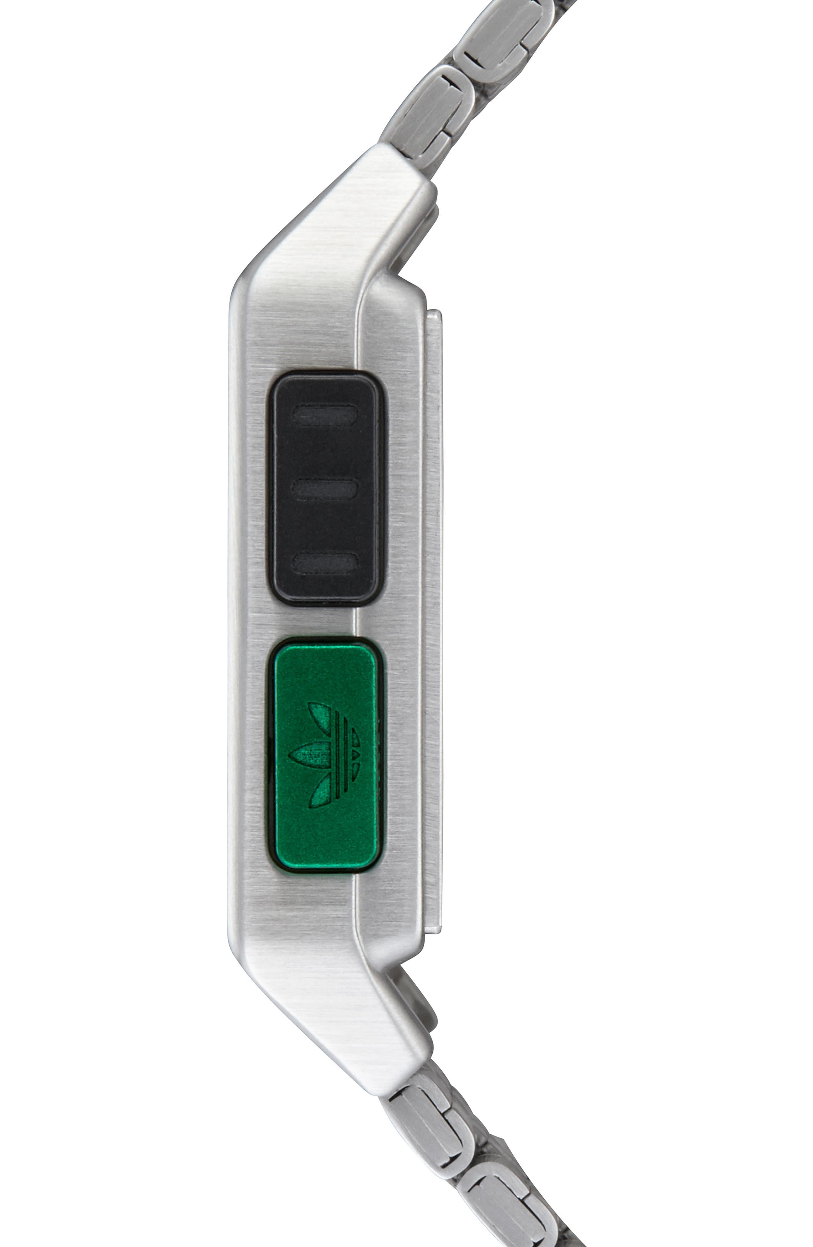 Archive Digital Bracelet Watch, 36mm,                             Alternate thumbnail 3, color,                             SILVER/ BLACK/ GREEN