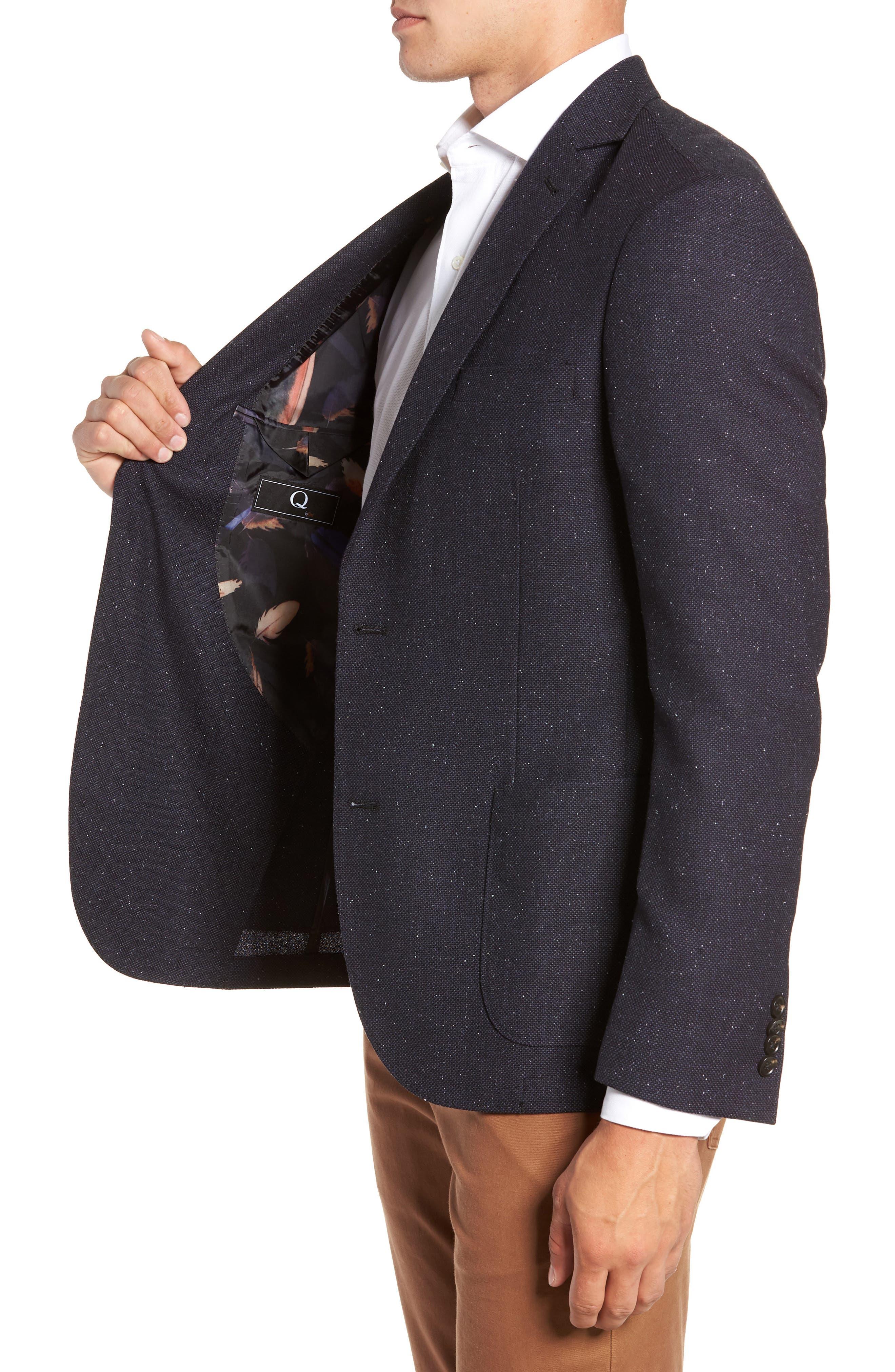 Regular Fit Wool & Silk Blazer,                             Alternate thumbnail 3, color,                             BLUE