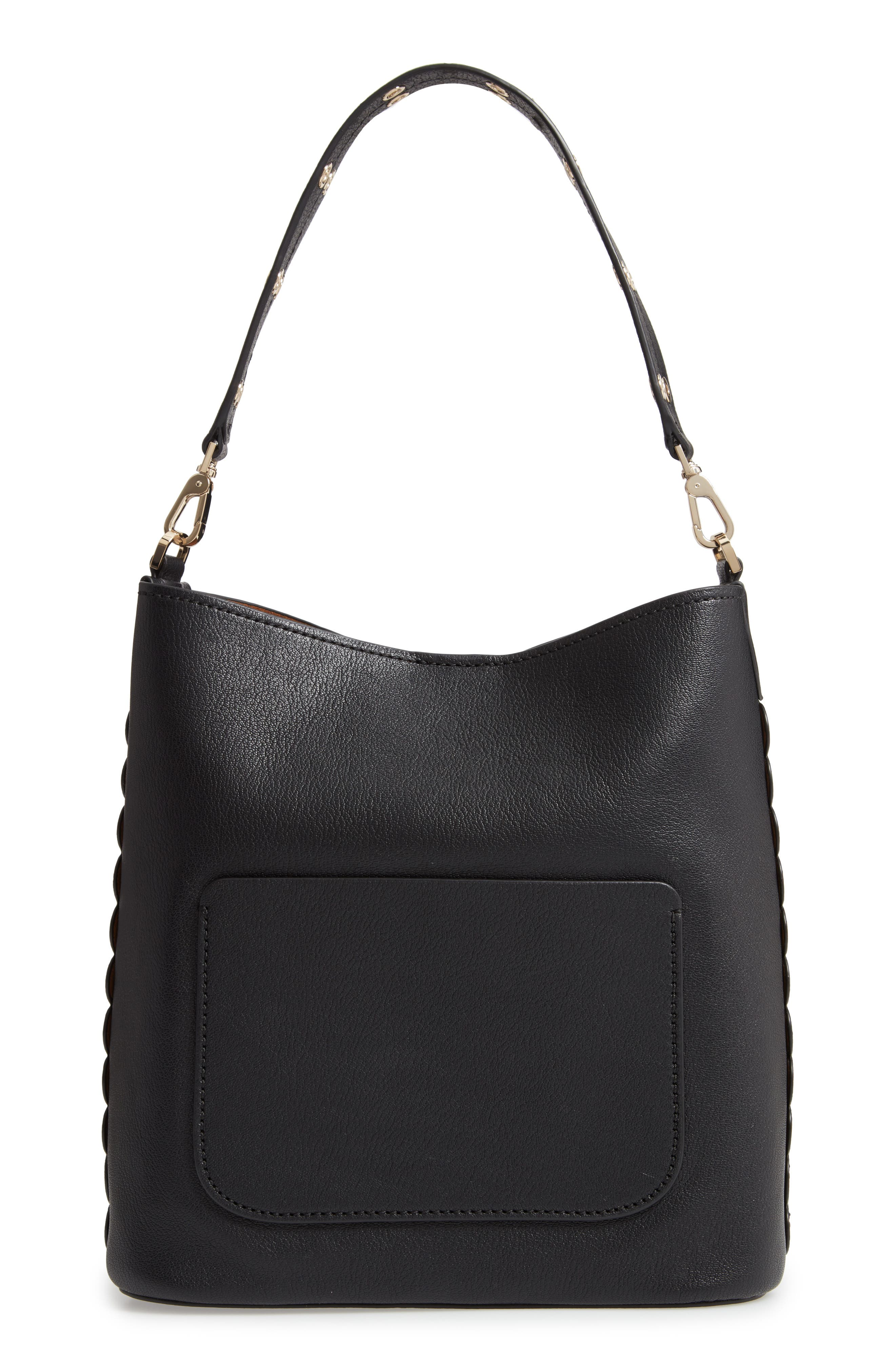 atlantic avenue libby grommet leather tote,                             Alternate thumbnail 3, color,                             BLACK