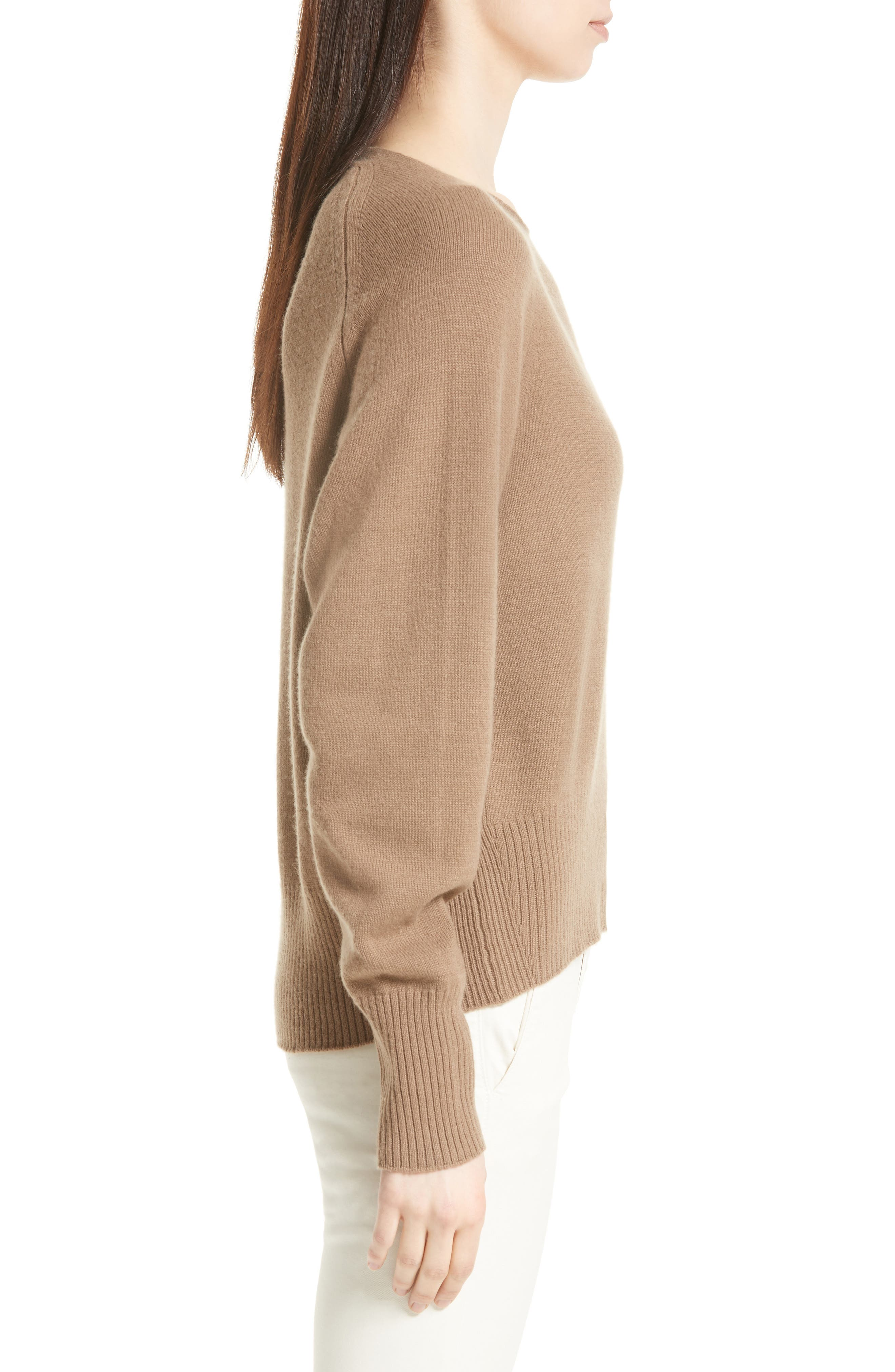 Boat Neck Cashmere Sweater,                             Alternate thumbnail 3, color,                             200