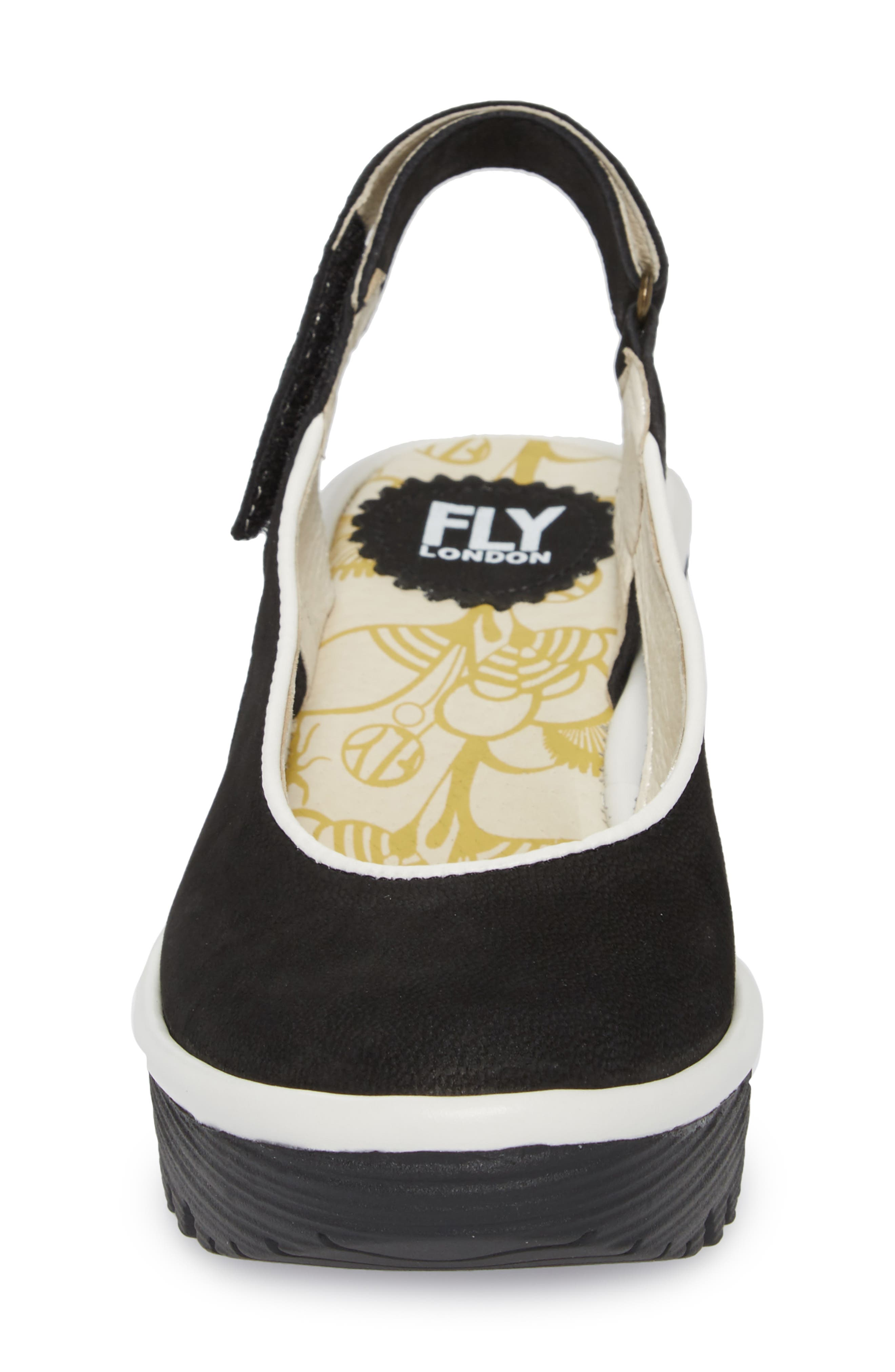Yipi Wedge Sandal,                             Alternate thumbnail 4, color,                             BLACK/ OFF WHITE MIX LEATHER