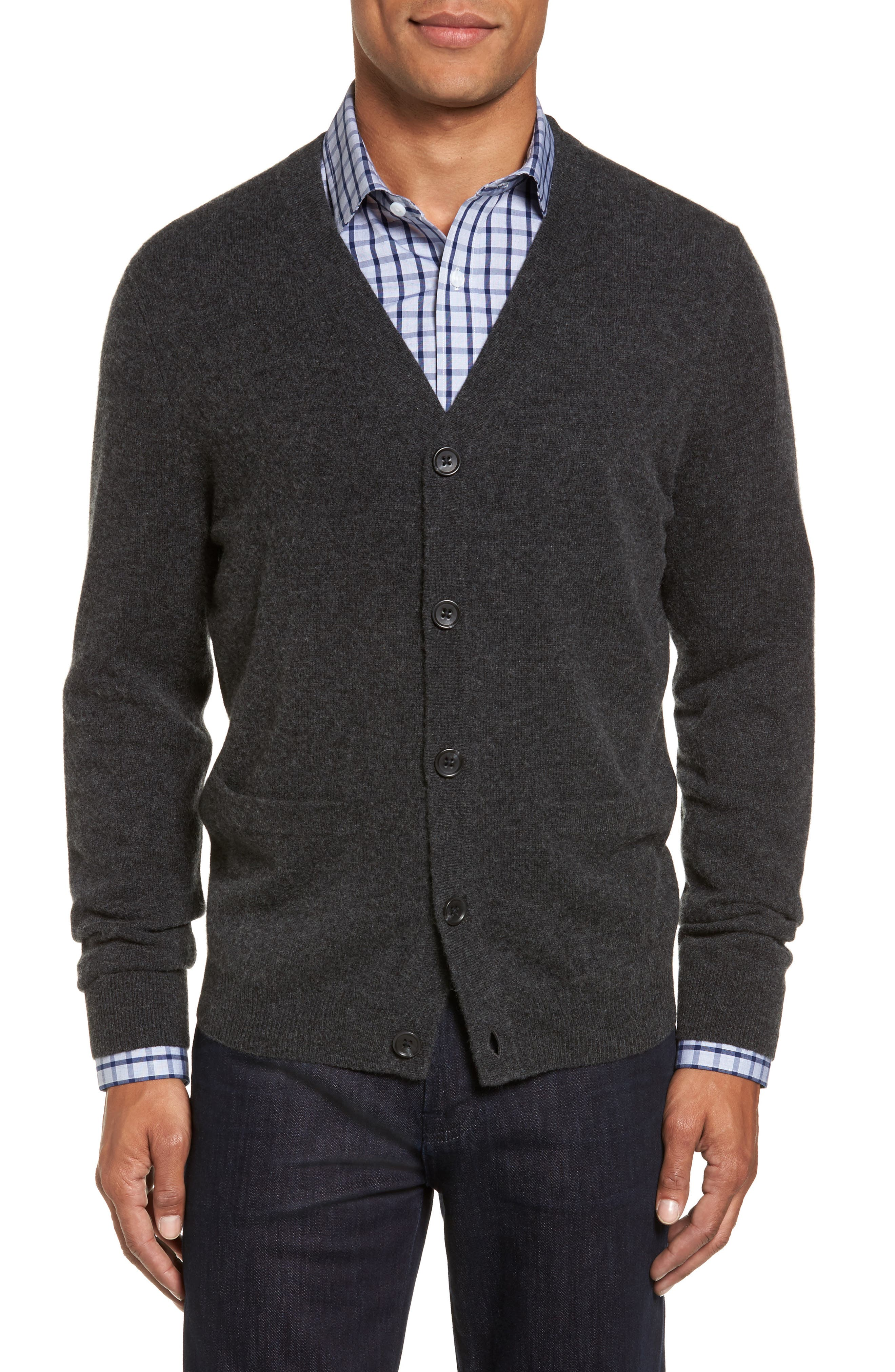 Nordstrom Shop Cashmere Button Front Cardigan, Grey