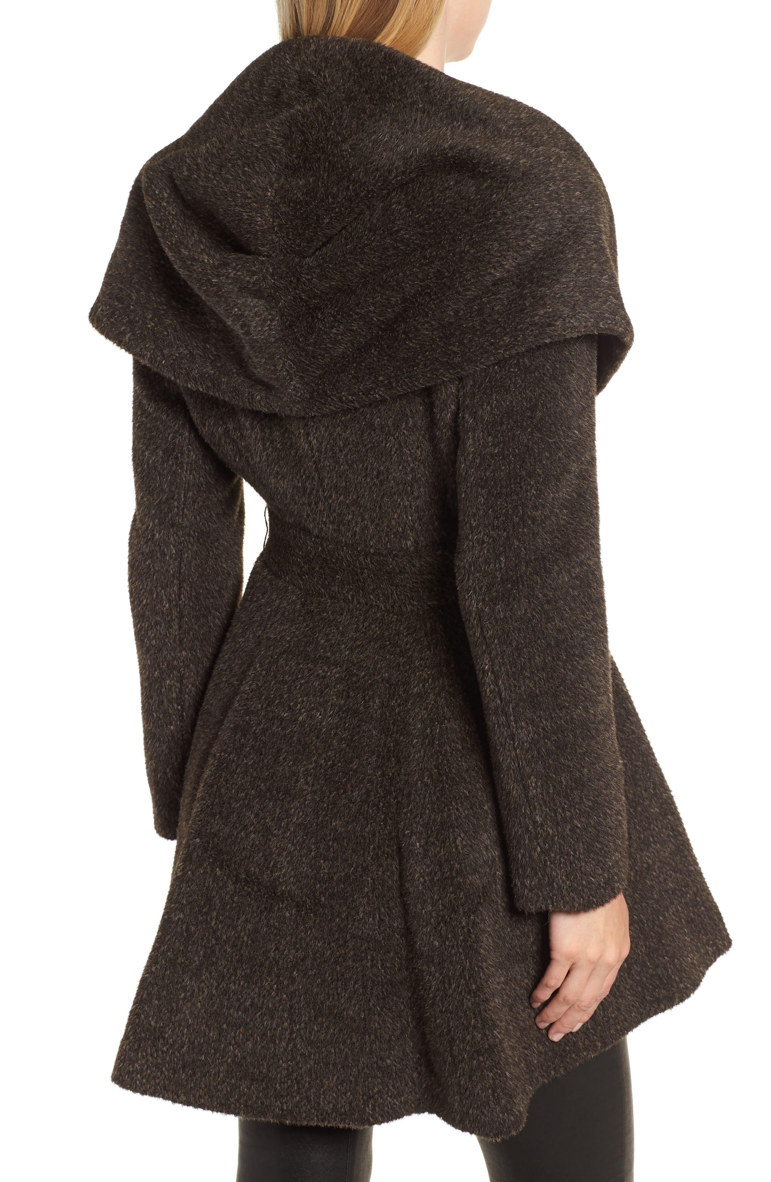 Grace Hooded Wrap Walker Coat,                             Alternate thumbnail 2, color,                             BROWN/ BLACK