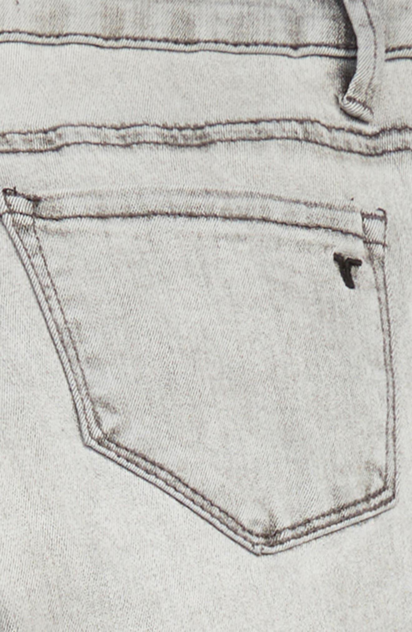 Embellished Tuxedo Stripe Skinny Jeans,                             Alternate thumbnail 3, color,                             CHARCOAL