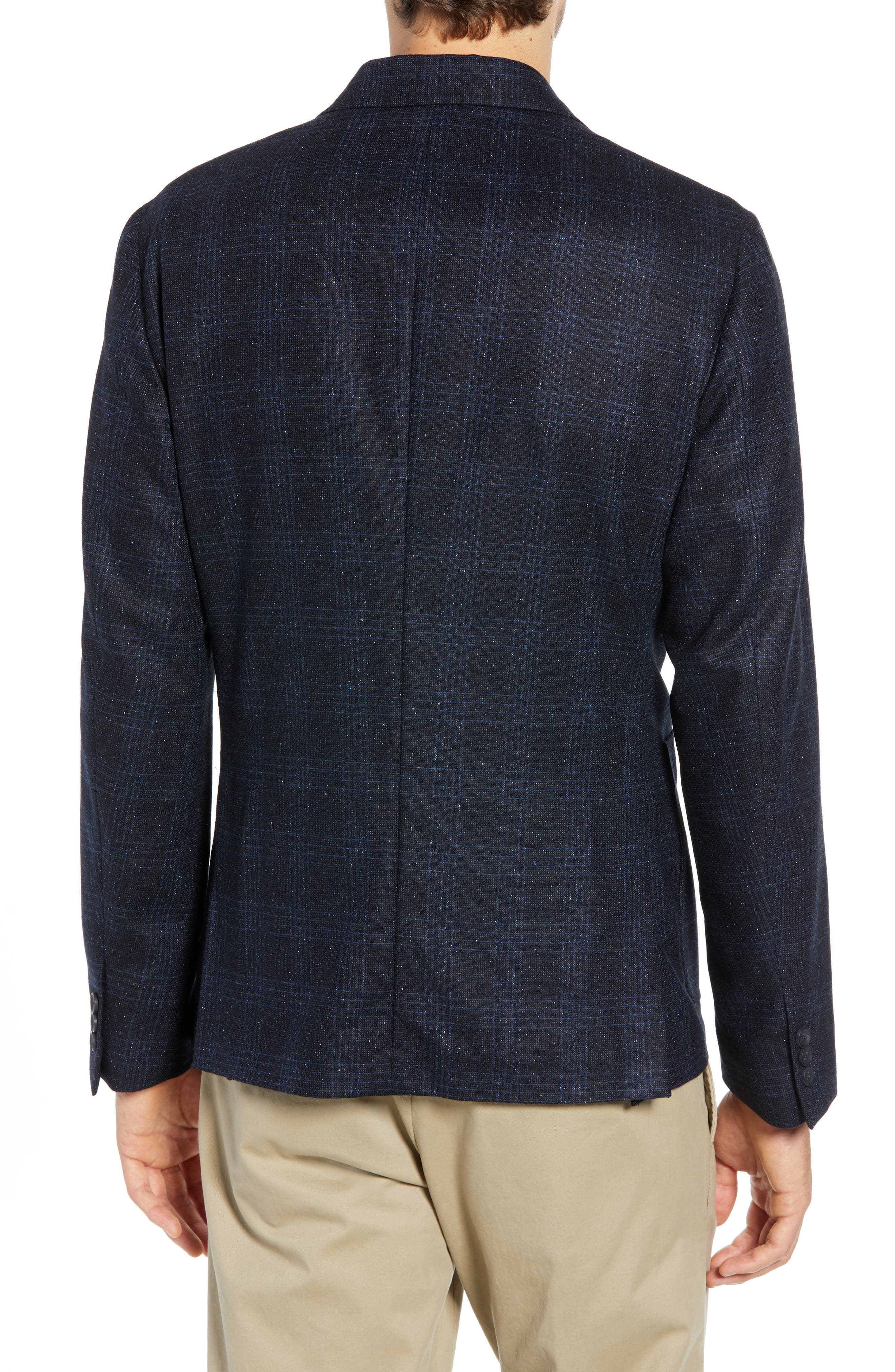 Extra Trim Fit Donegal Plaid Soft Coat,                             Alternate thumbnail 2, color,                             NAVY