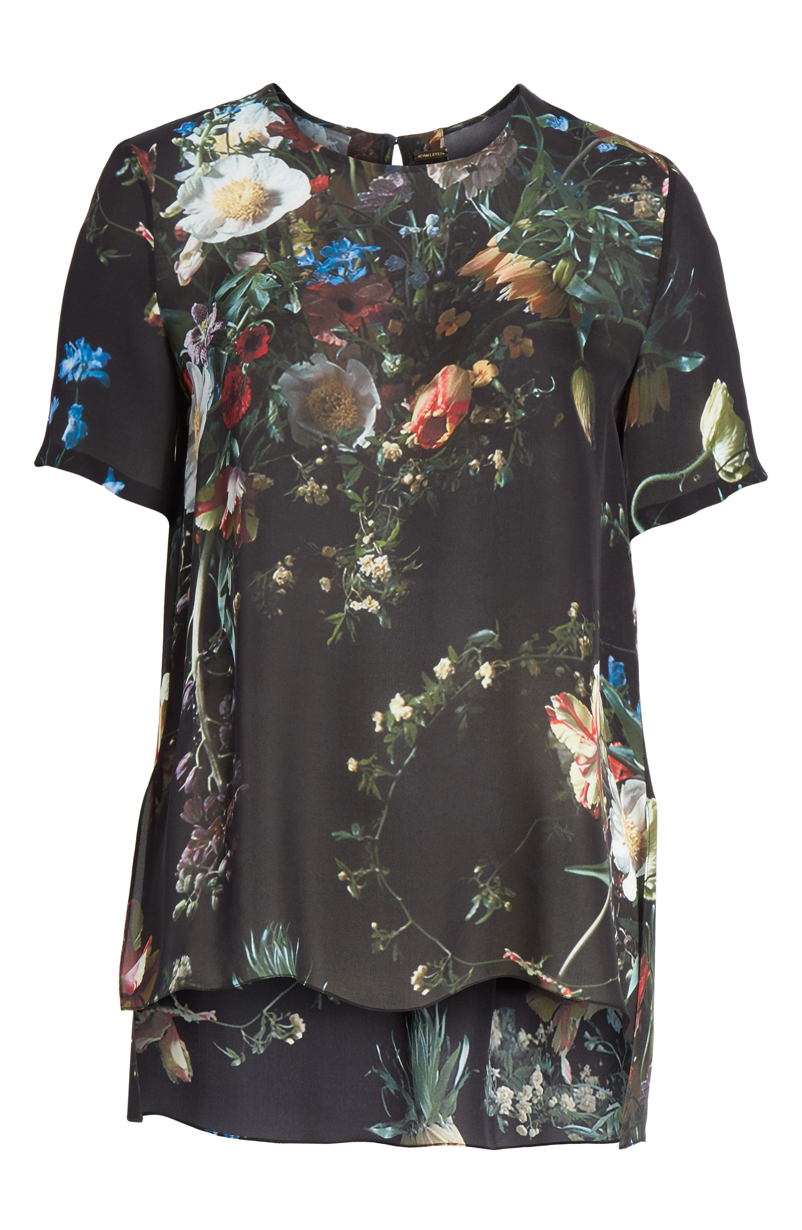 Floral Print Silk Tee,                             Alternate thumbnail 6, color,