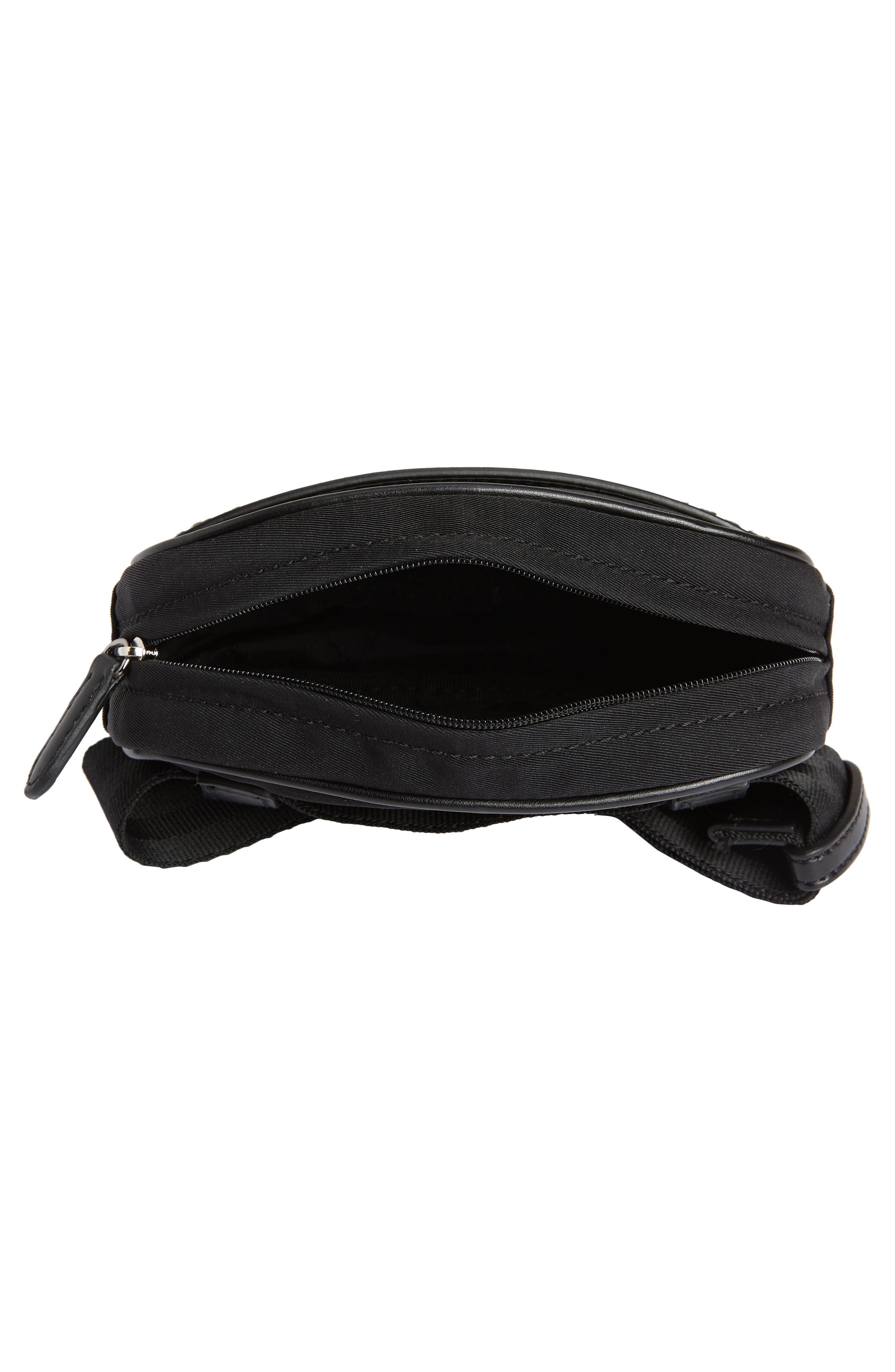 Nylon Convertible Belt Bag,                             Alternate thumbnail 5, color,                             BLACK/ SILVER