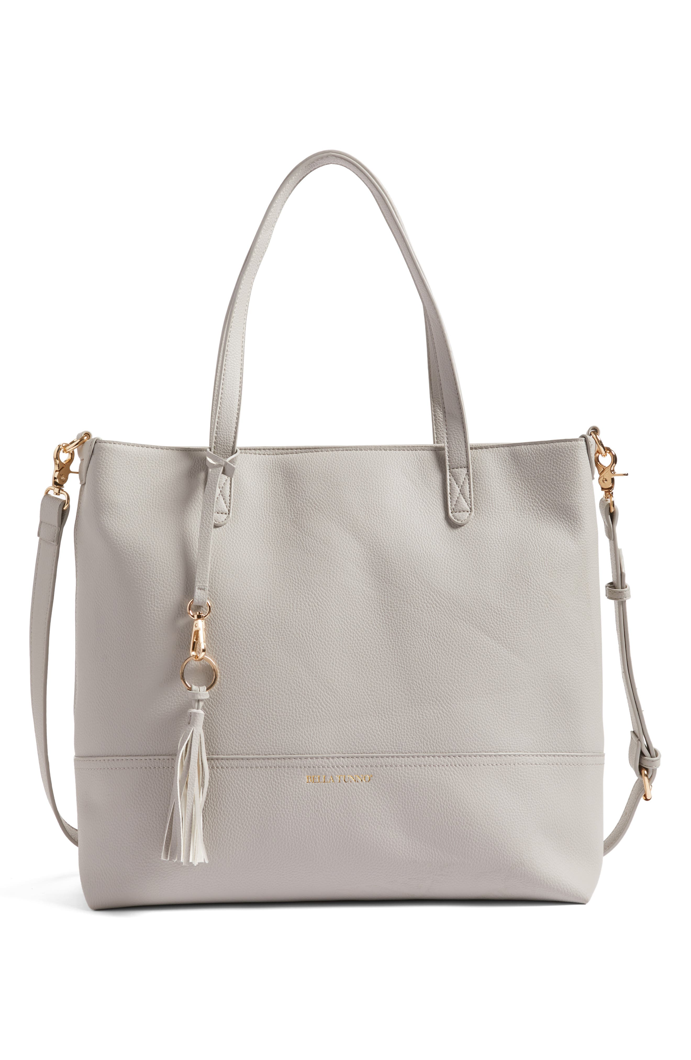 Boss Faux Leather Diaper Bag & Clutch,                             Main thumbnail 1, color,                             GRAY