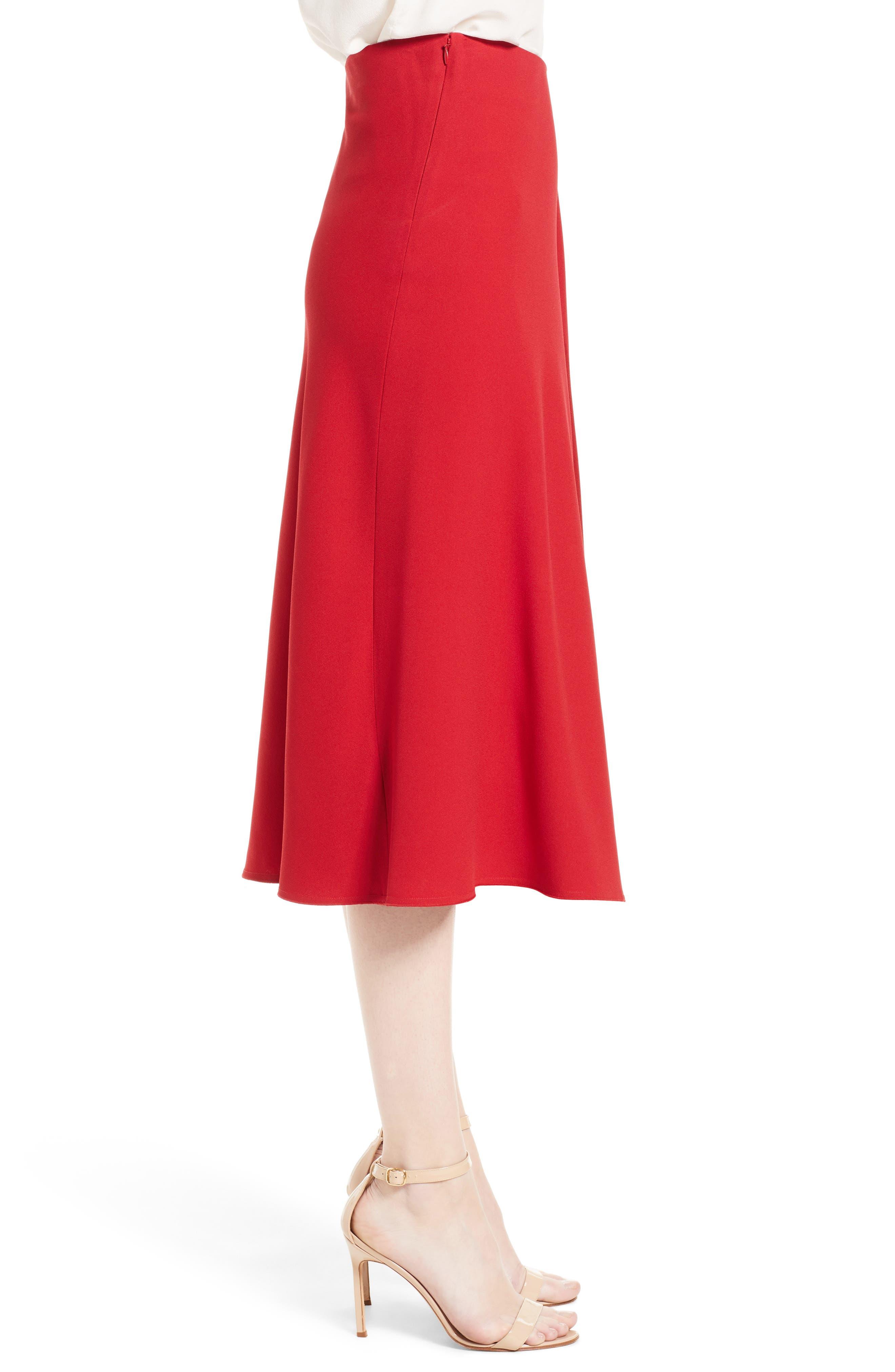 Satin Crepe Godet Skirt,                             Alternate thumbnail 3, color,                             600