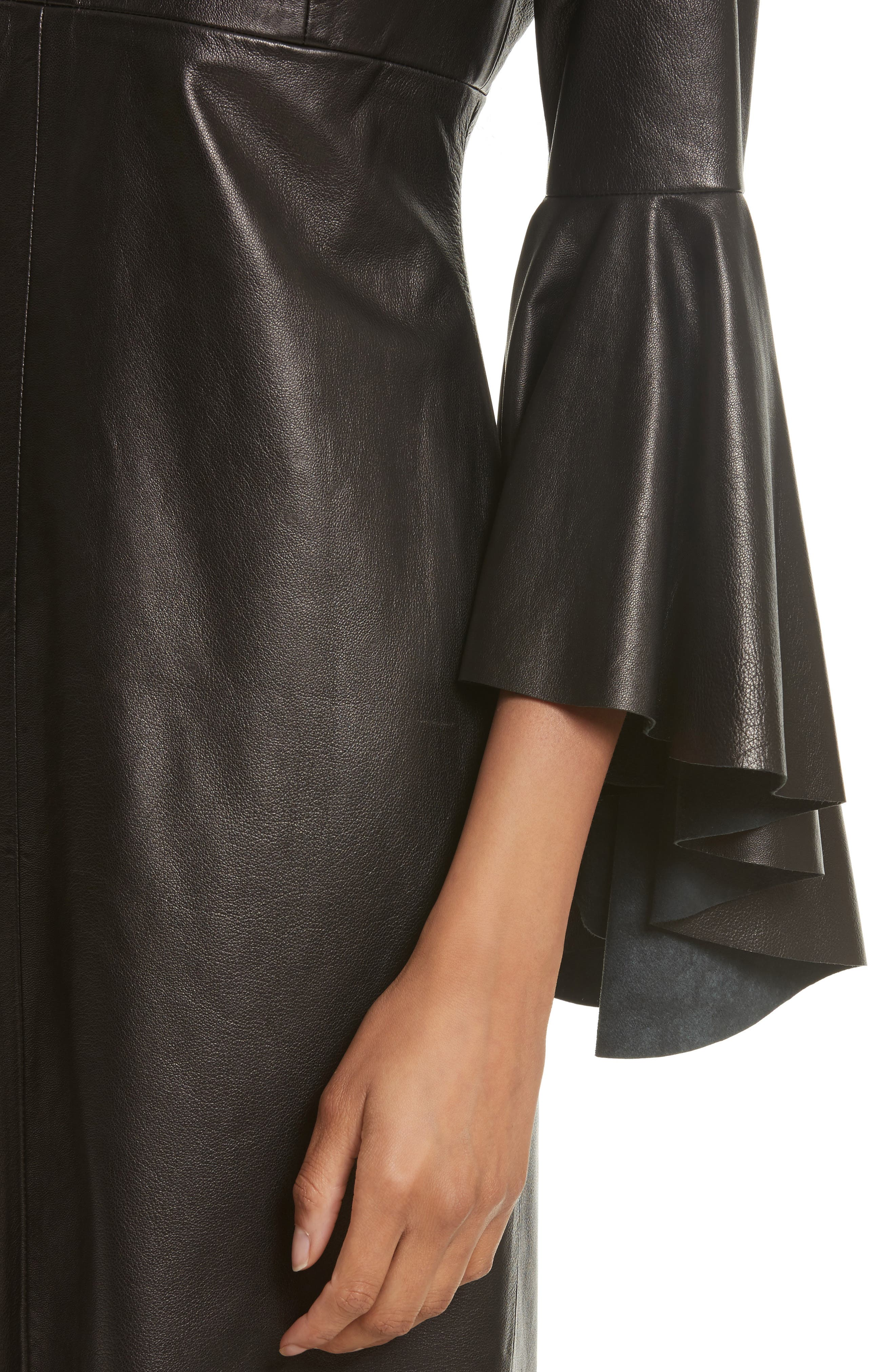 Bell Sleeve Leather Dress,                             Alternate thumbnail 4, color,                             001