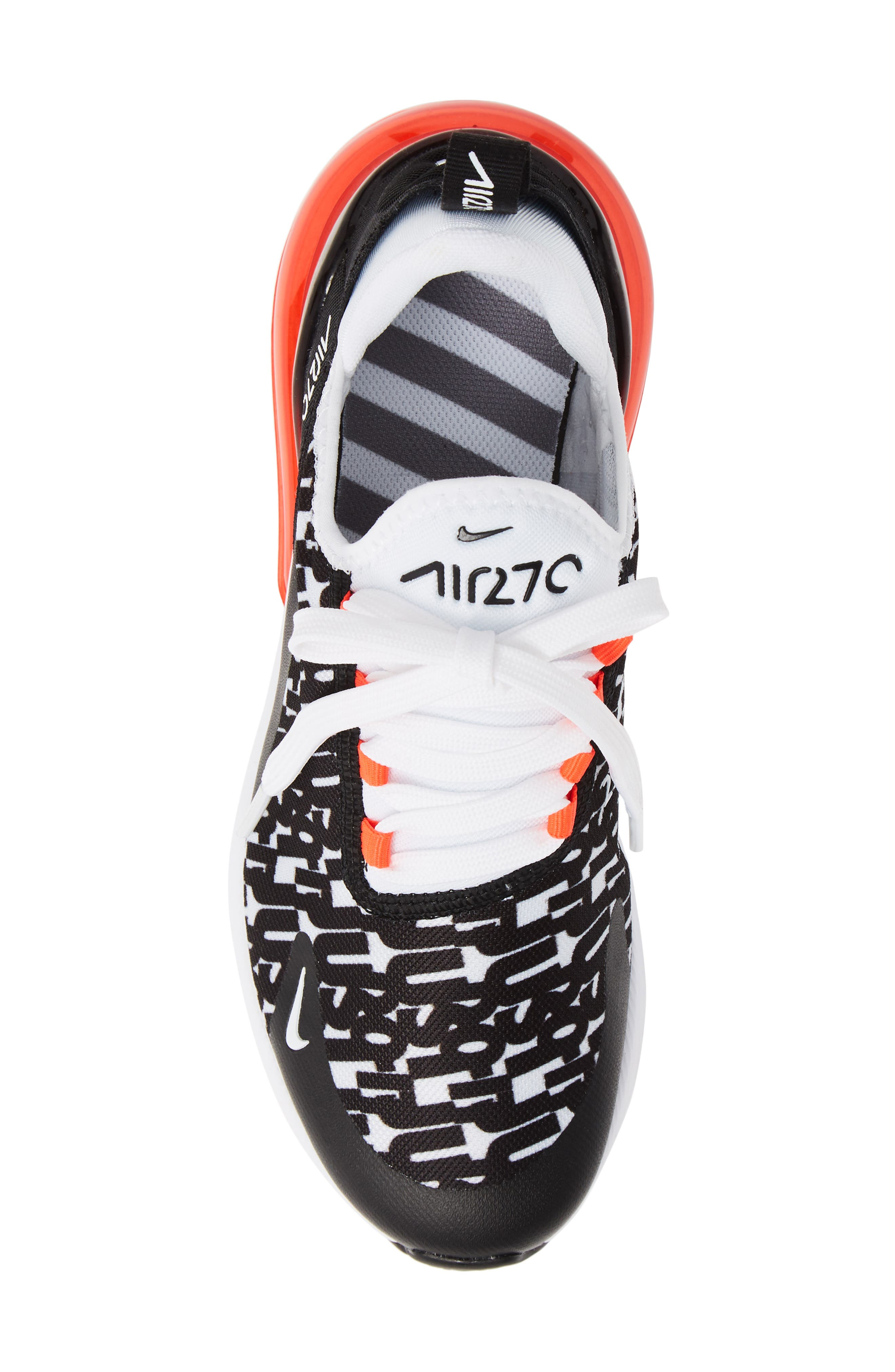 Air Max 270 Print Sneaker,                             Alternate thumbnail 5, color,                             BLACK/ WHITE/ BRIGHT CRIMSON