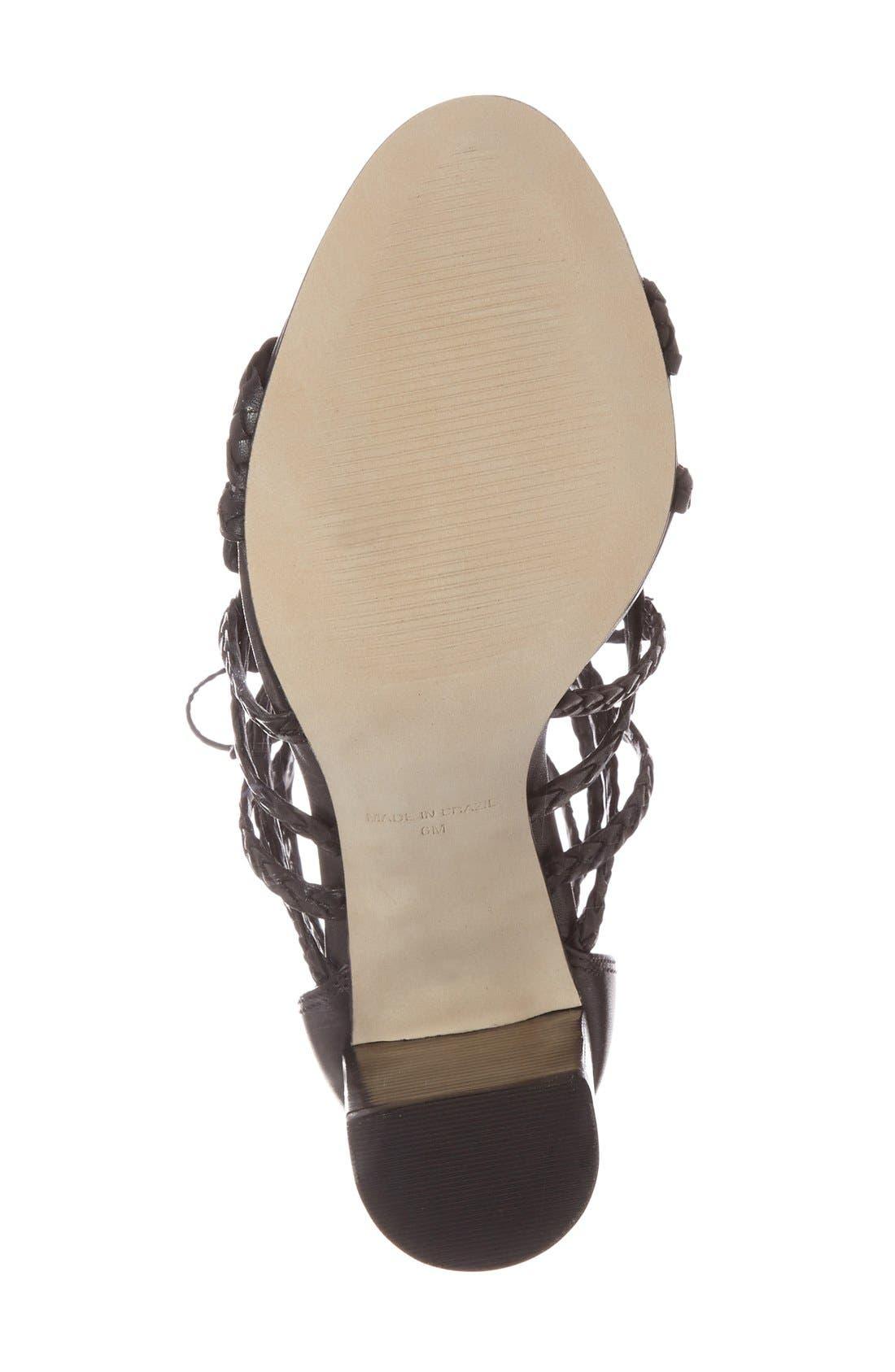 'Tarrra' Ghillie Block Heel Sandal,                             Alternate thumbnail 4, color,                             001