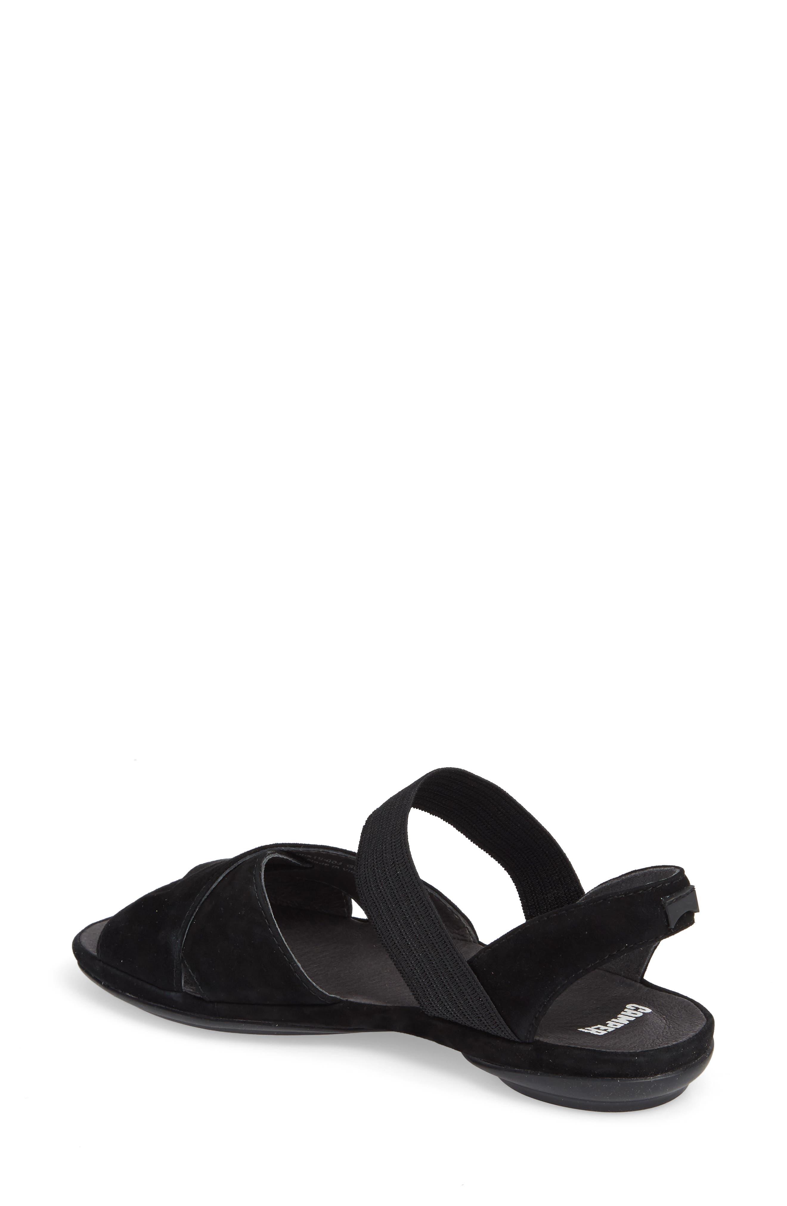 Right Nina Flat Cross Strap Sandal,                             Alternate thumbnail 2, color,                             BLACK LEATHER