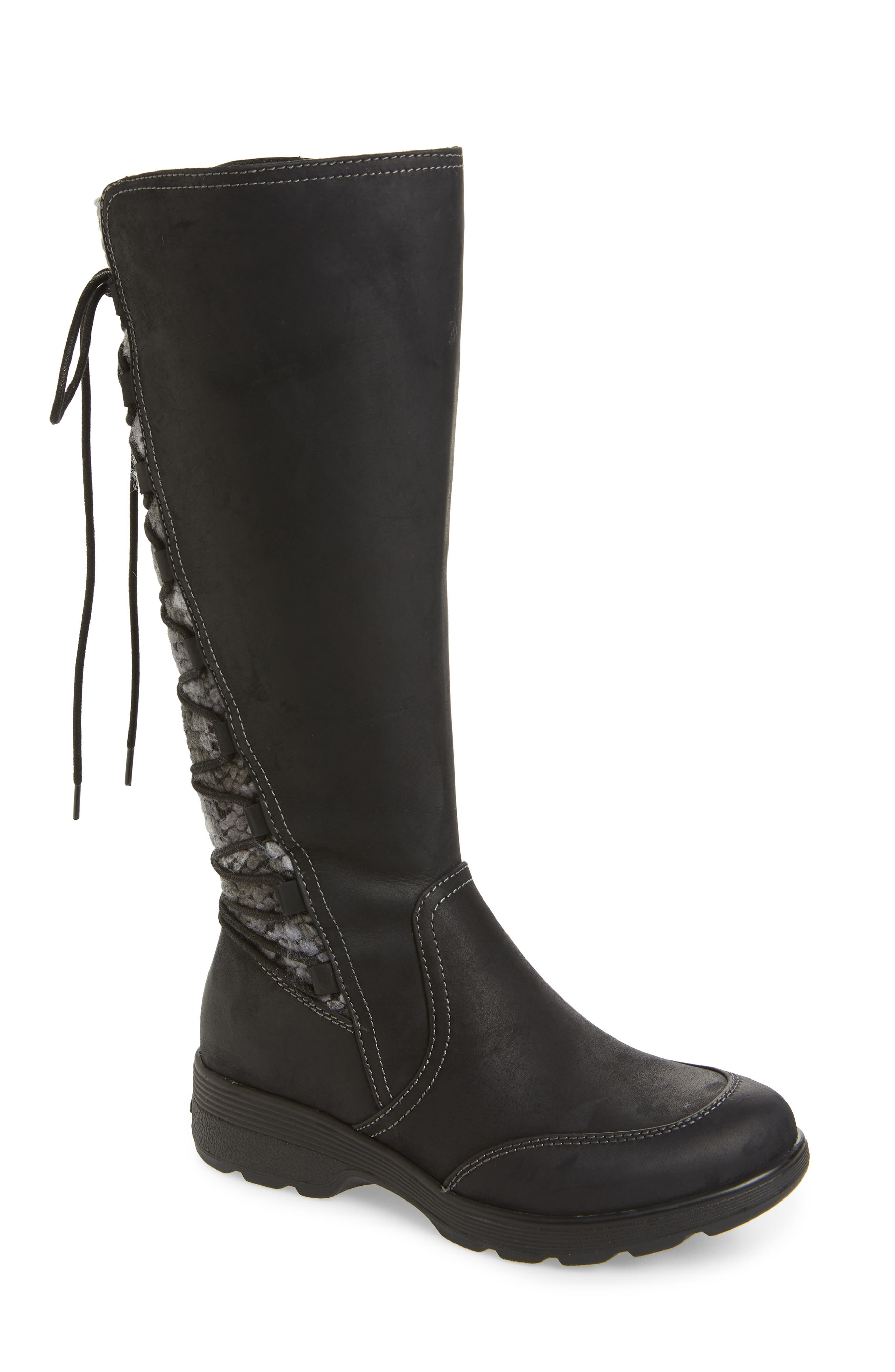 Epping Waterproof Knee High Boot, Main, color, BLACK LEATHER