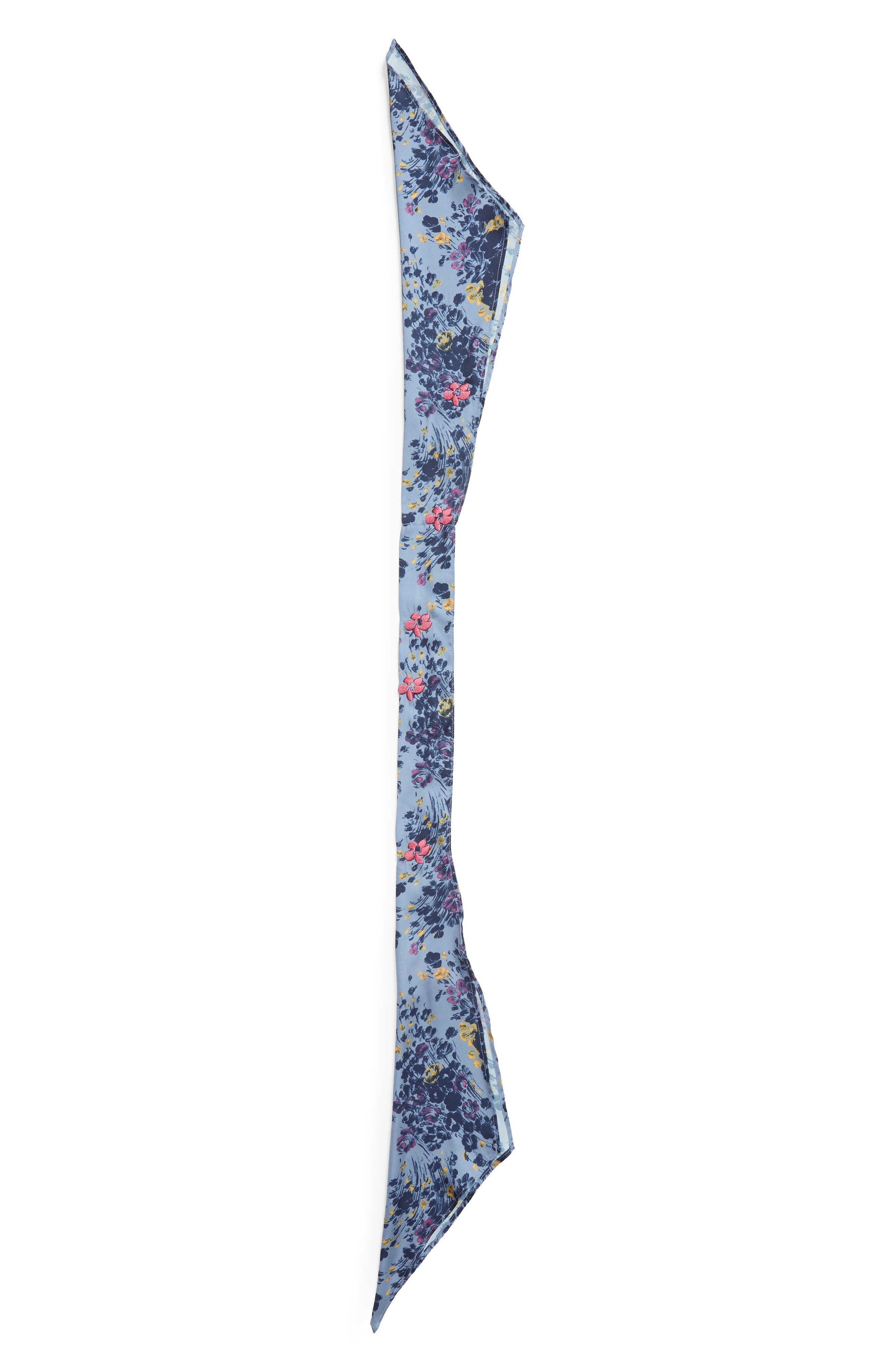 Print Short Tie Scarf,                             Alternate thumbnail 3, color,                             BLUE MINI MOODY FLORAL