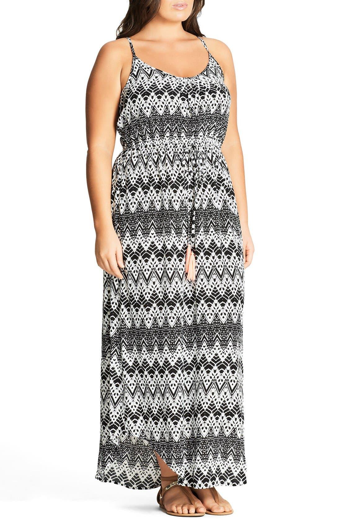 Mono Print Maxi Dress,                             Alternate thumbnail 7, color,