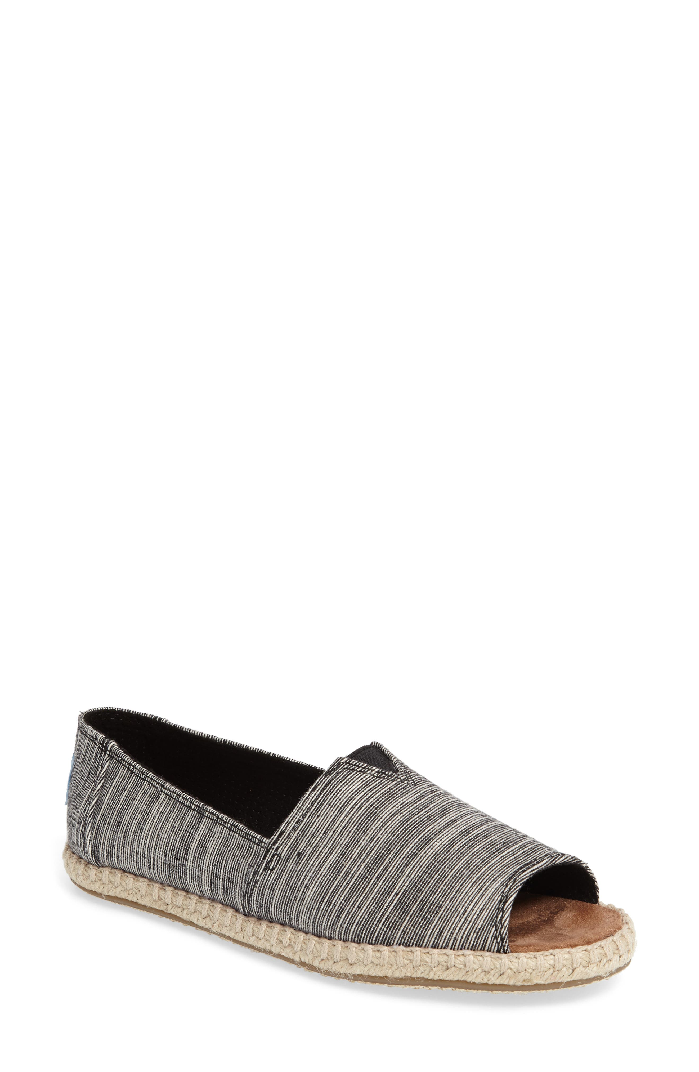 Open Toe Espadrille Slip-On,                         Main,                         color, 001