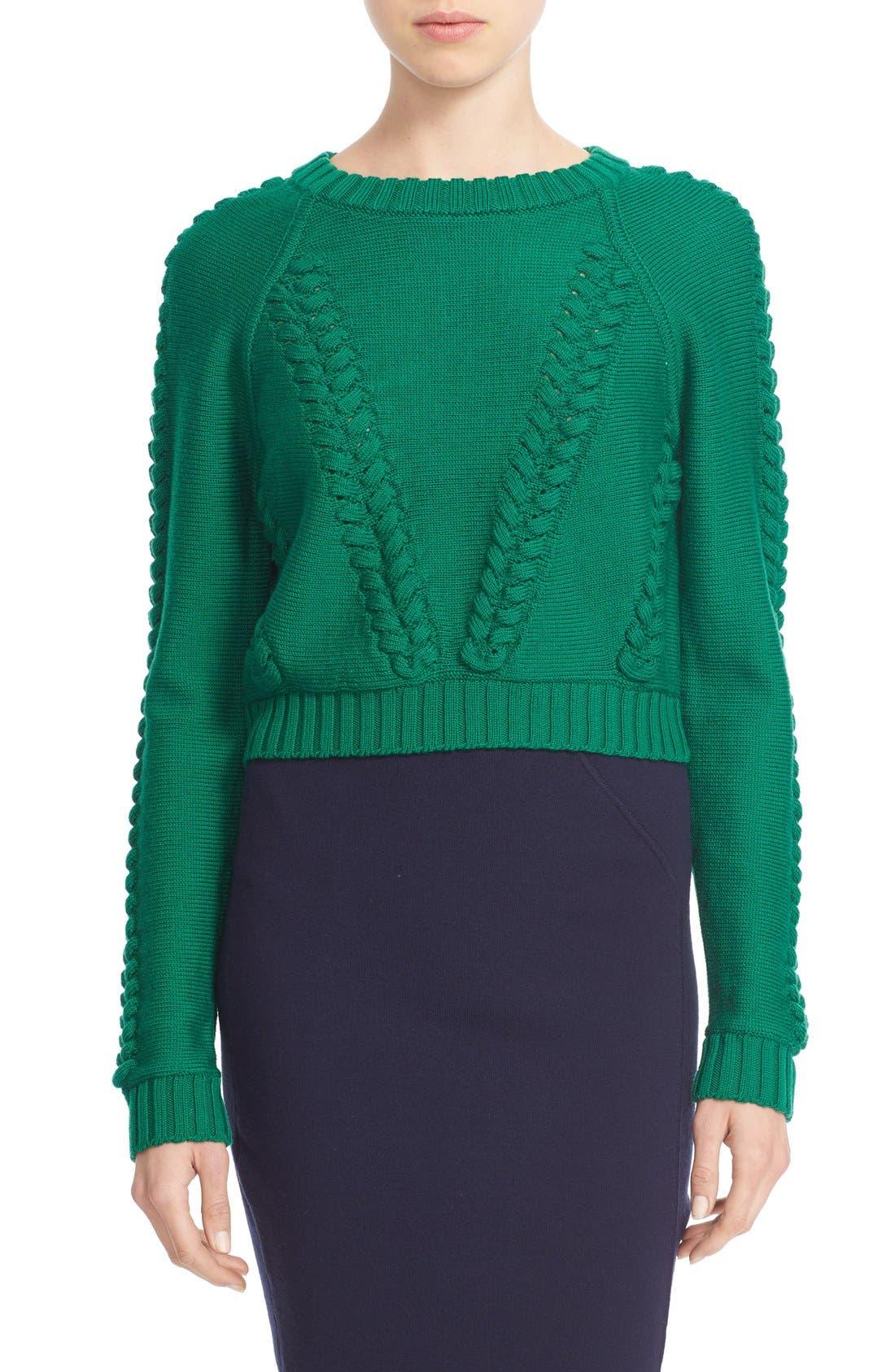 Braid Stitch Wool Crop Sweater,                             Main thumbnail 1, color,                             301