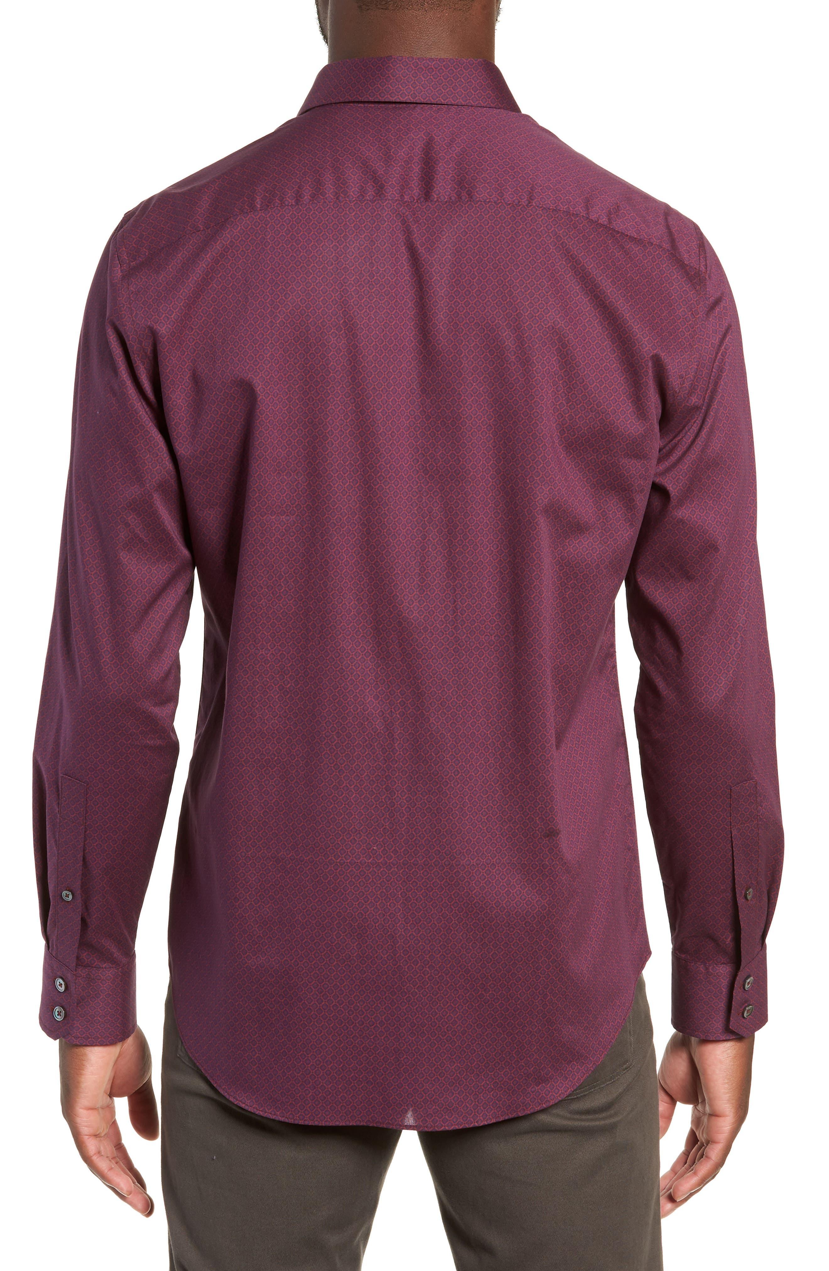 Shamus Regular Fit Sport Shirt,                             Alternate thumbnail 3, color,                             MAROON