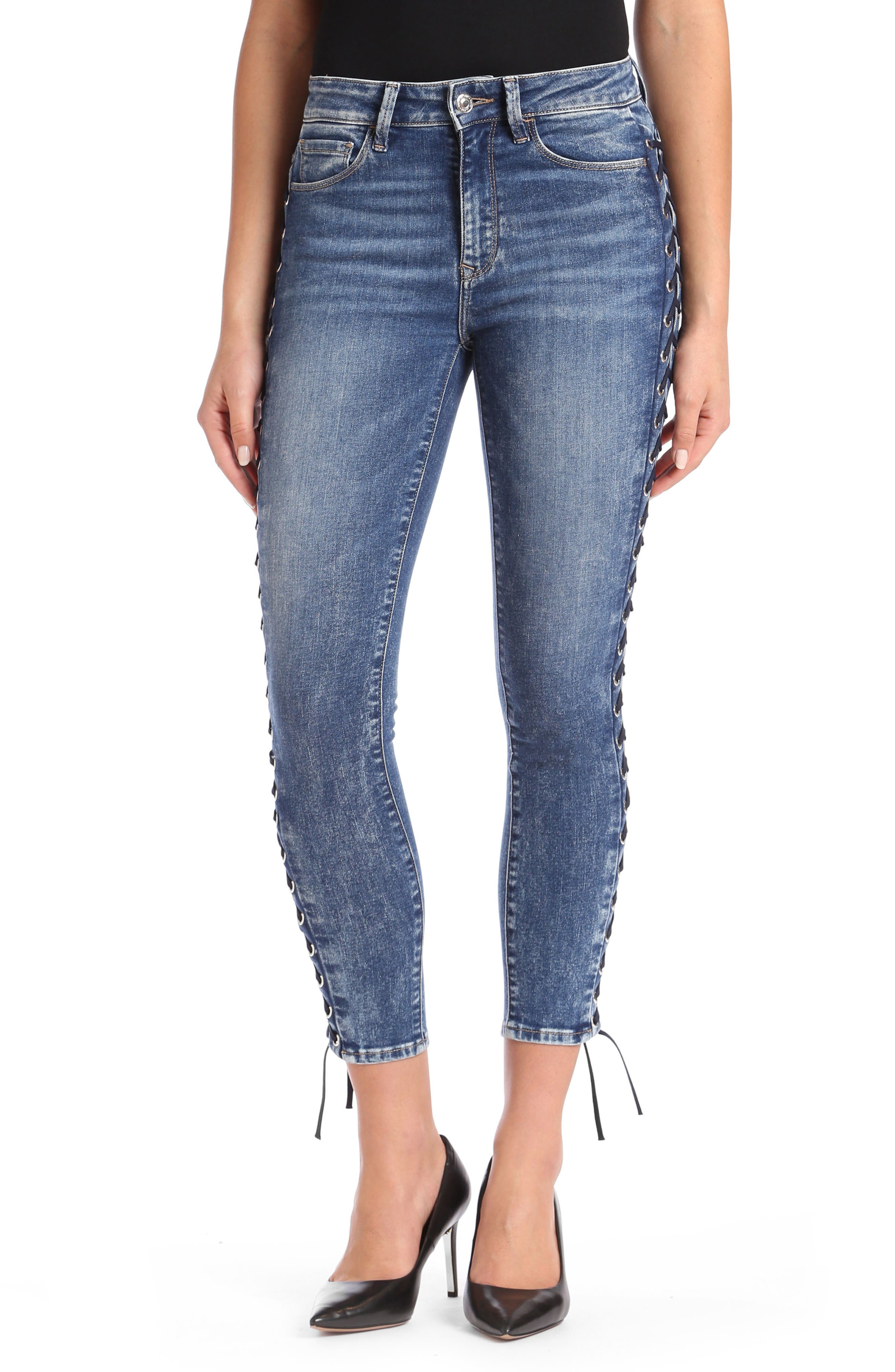 Tess Corset Ankle Skinny Jeans,                         Main,                         color, 420