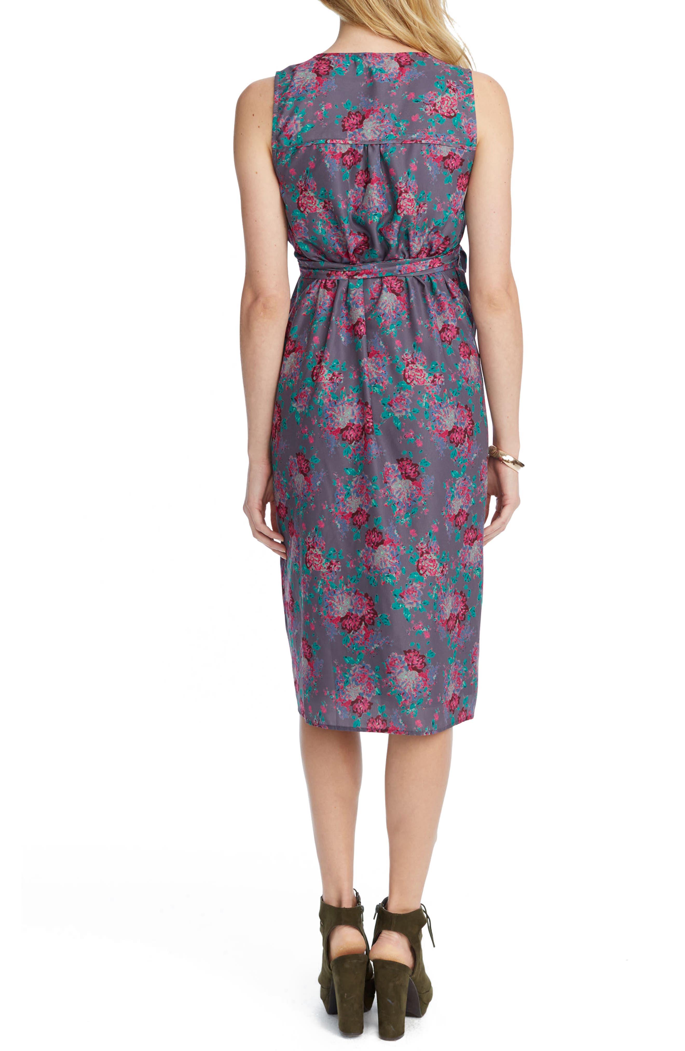 Tara Floral Maternity/Nursing Wrap Dress,                             Alternate thumbnail 2, color,                             SLATE COMBO