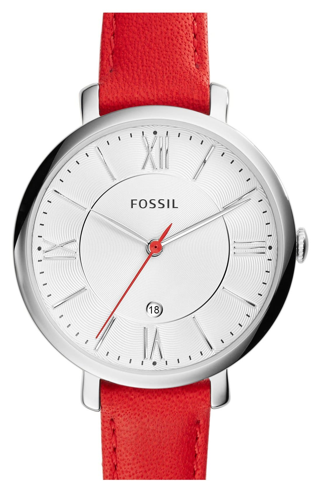 'Jacqueline' Round Leather Strap Watch, 36mm,                             Main thumbnail 17, color,