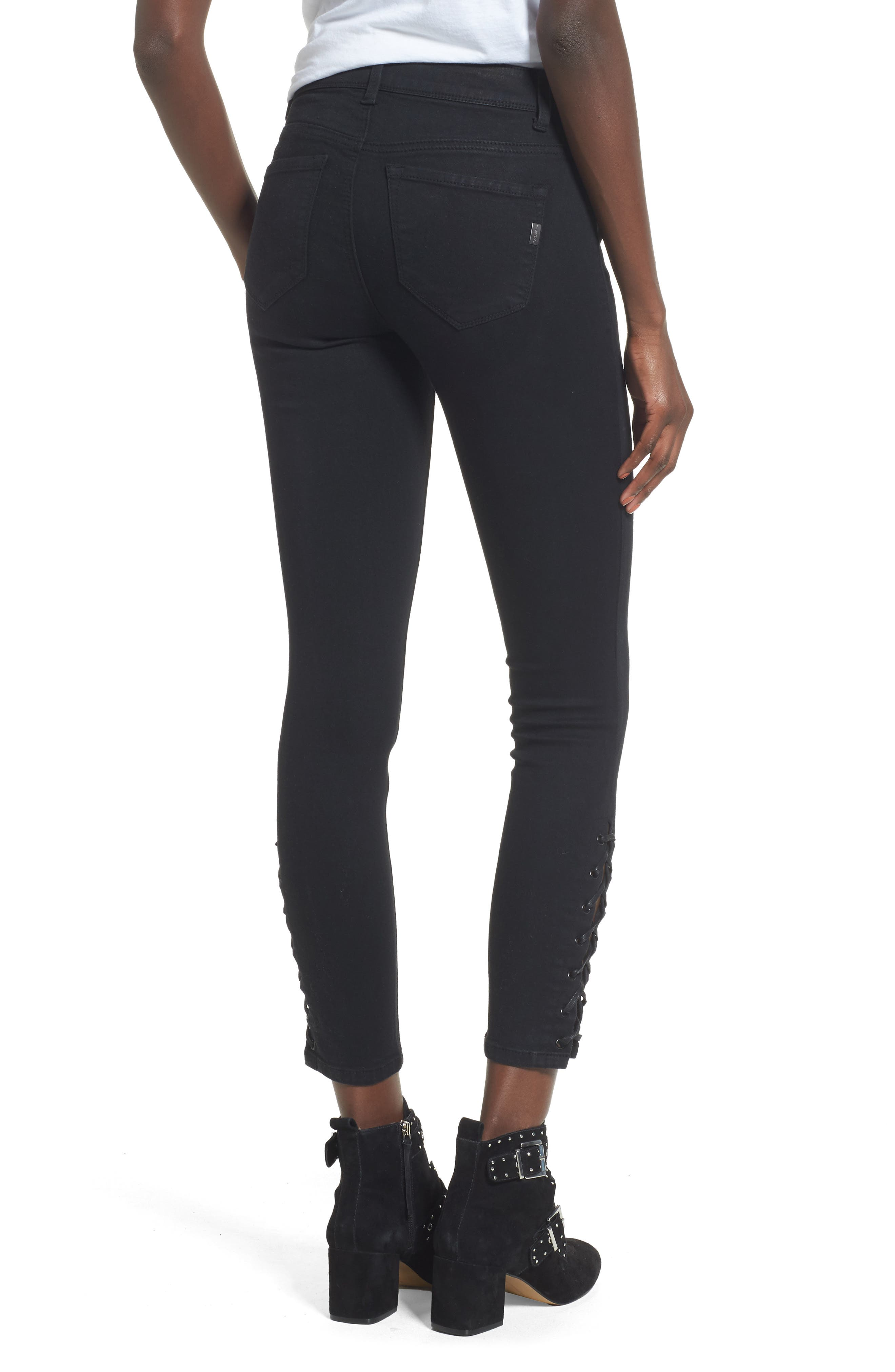 Lace-Up Ankle Skinny Jeans,                             Alternate thumbnail 2, color,                             001