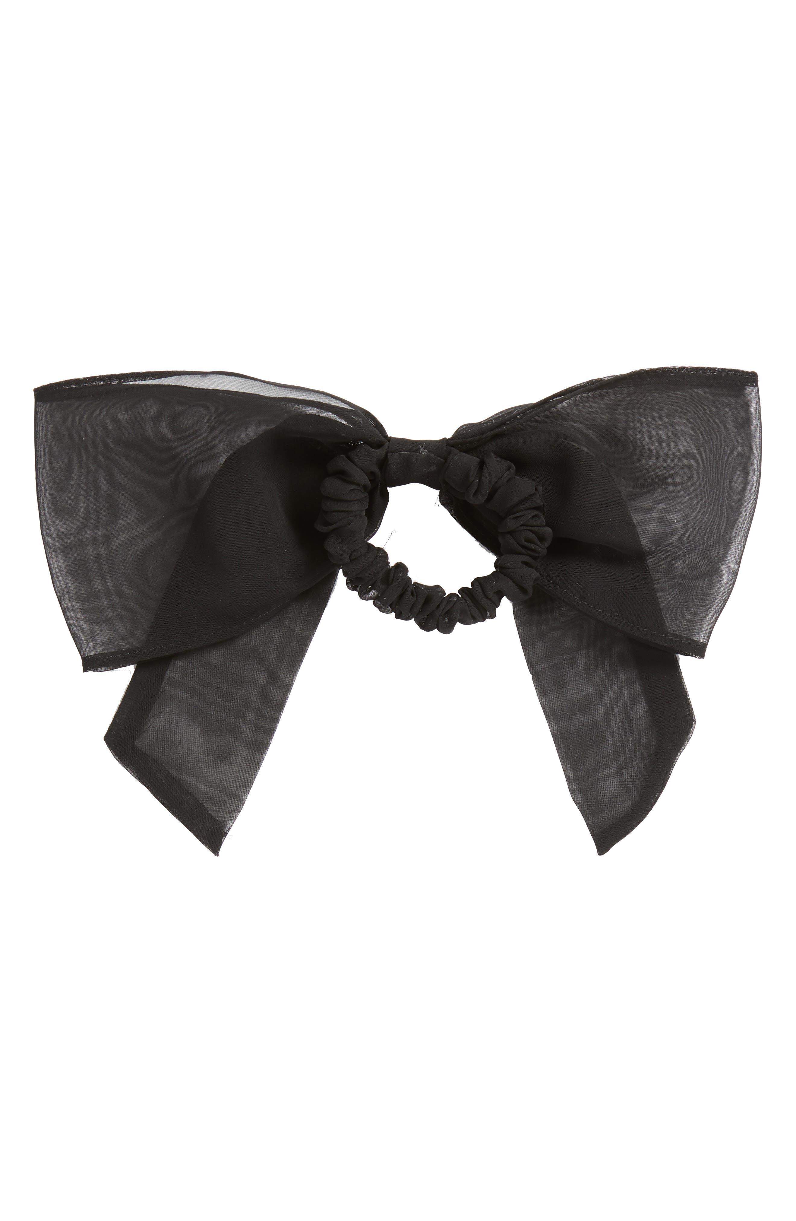 Chiffon Bow Ponytail Holder,                             Alternate thumbnail 2, color,                             BLACK
