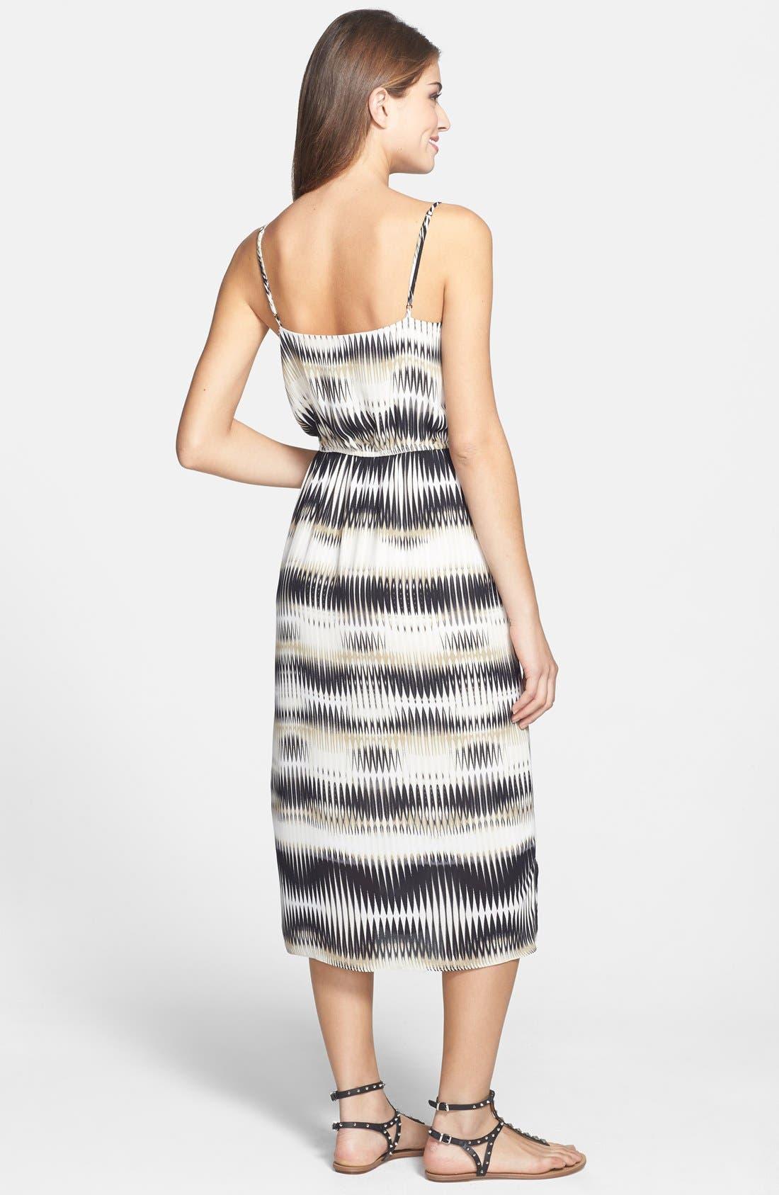 'Linear Echoes' Print Midi Dress,                             Alternate thumbnail 3, color,
