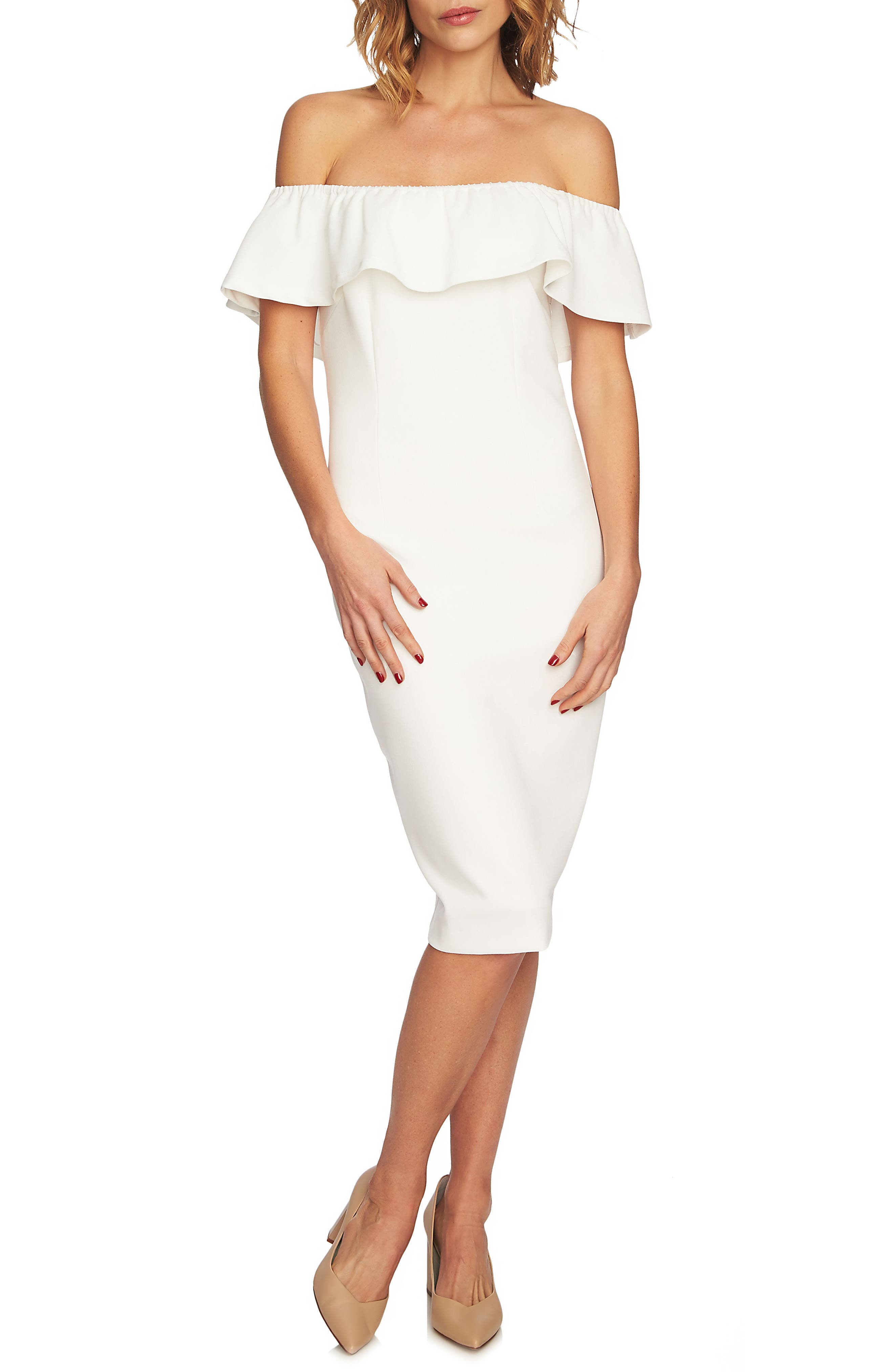 1.state Ruffle Off The Shoulder Dress, Ivory