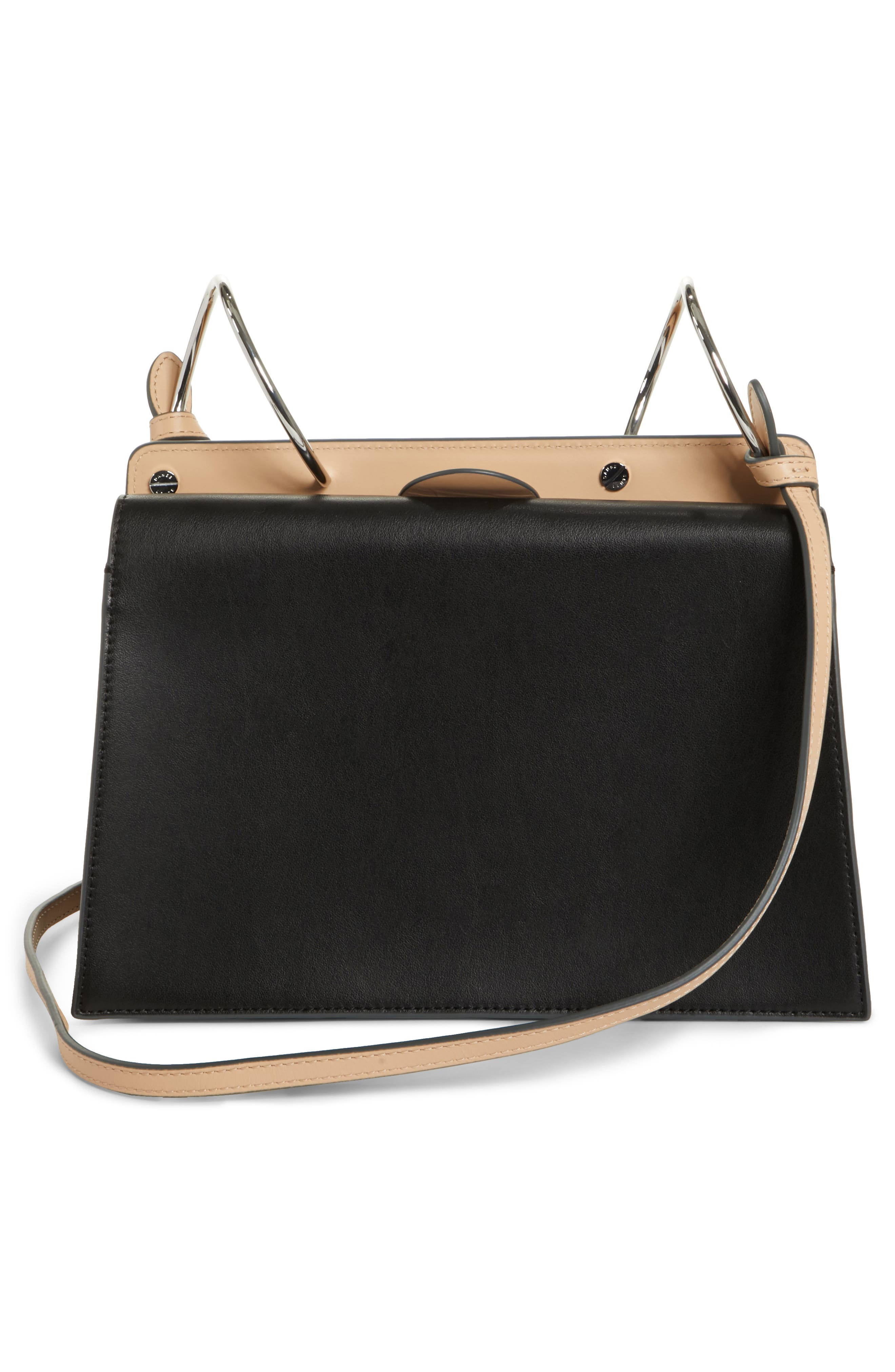 Phoebe Leather Crossbody Bag,                             Alternate thumbnail 3, color,                             NUDE