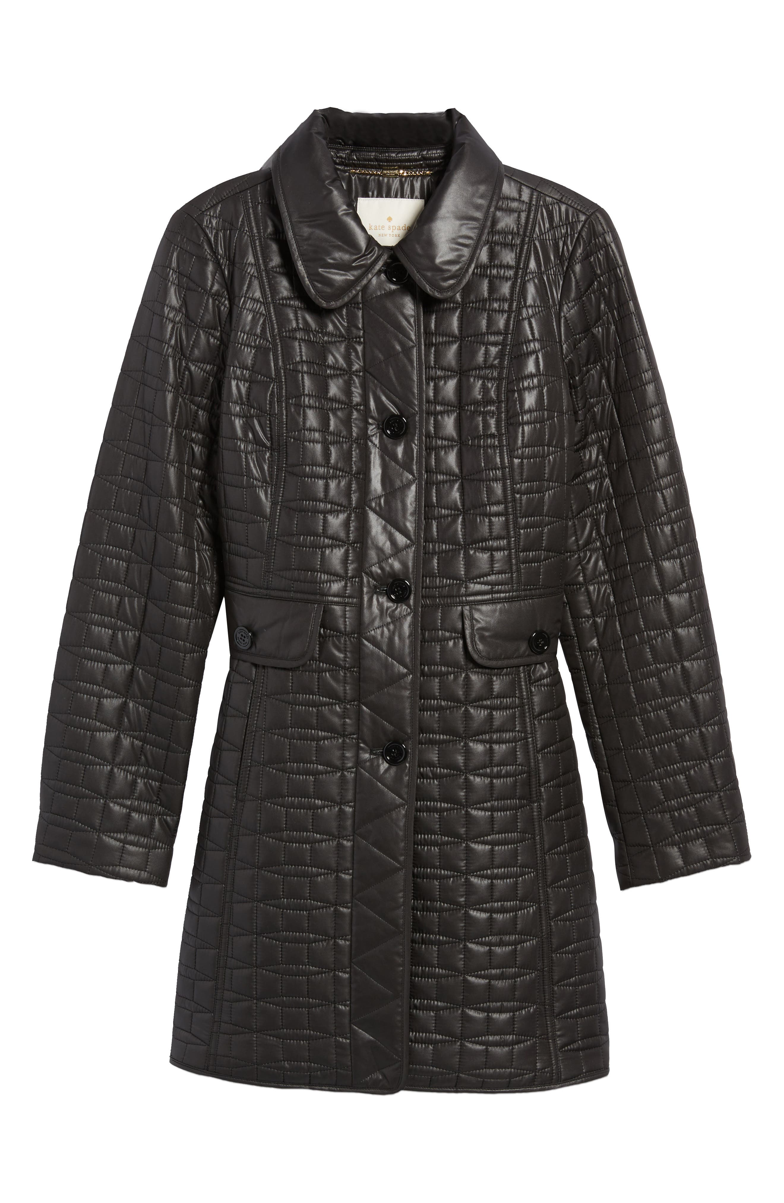 water resistant quilted coat,                             Alternate thumbnail 5, color,                             001