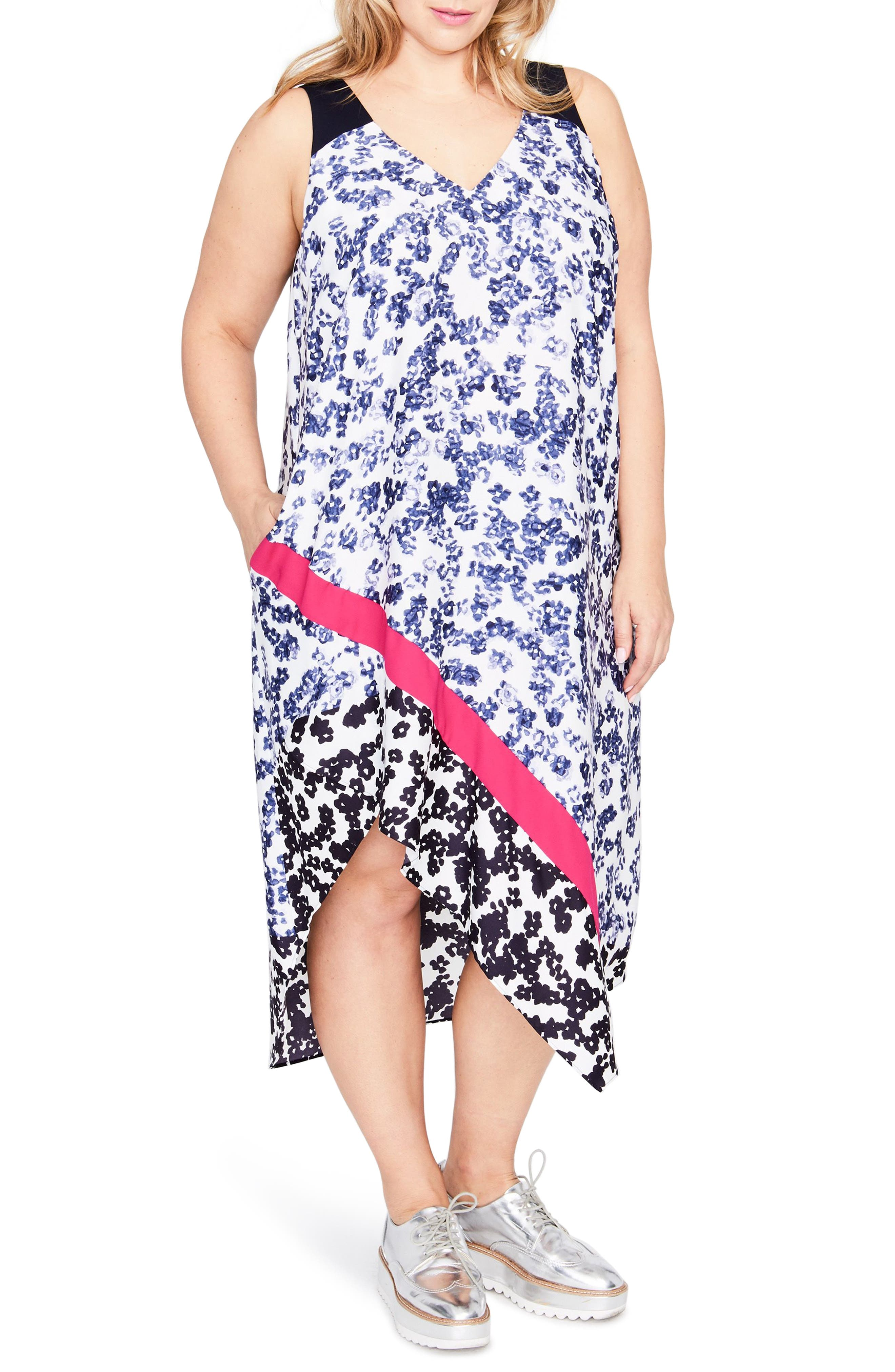Mixed Floral Scarf Dress,                             Main thumbnail 1, color,                             436
